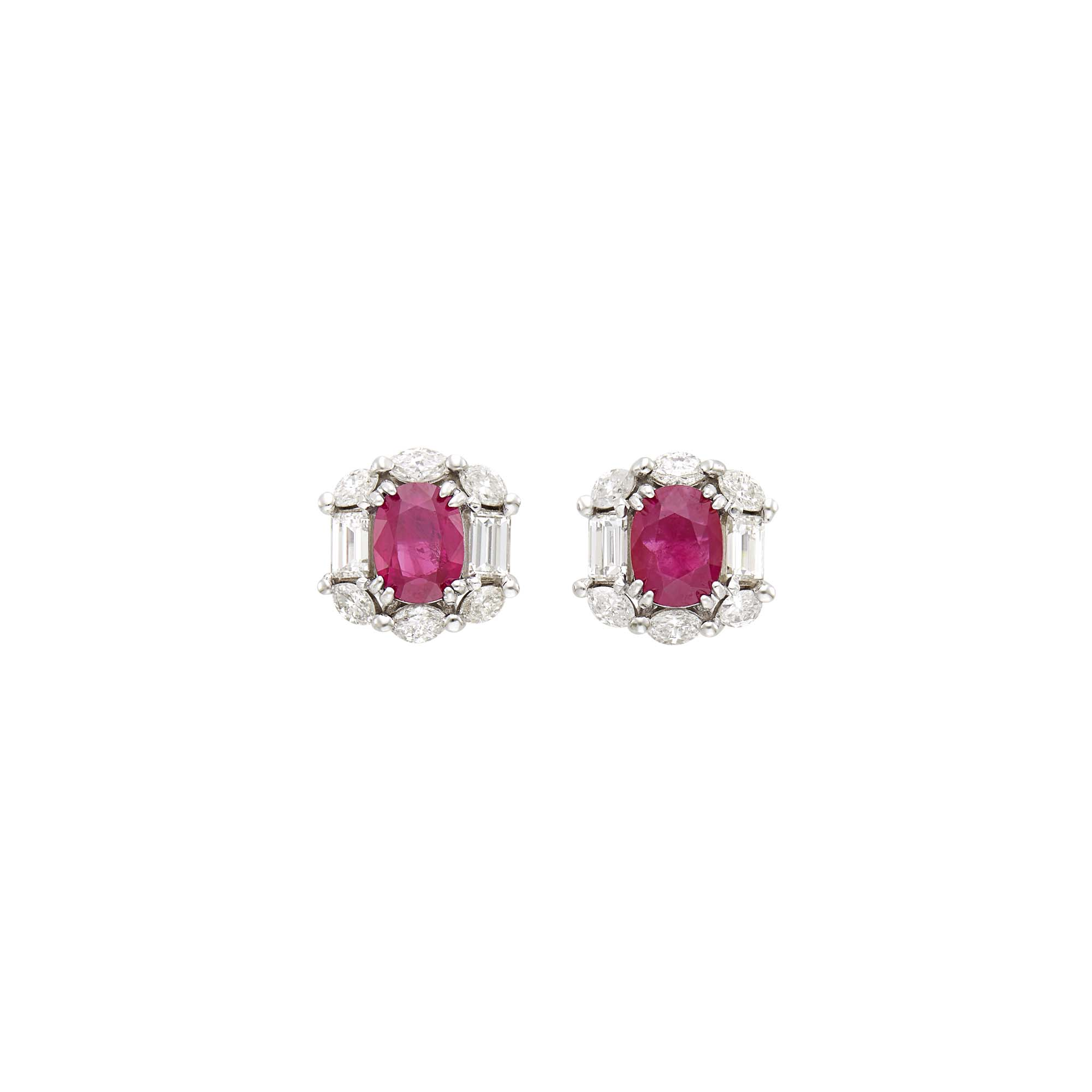 Lot image - Pair of White Gold, Ruby and Diamond Earrings