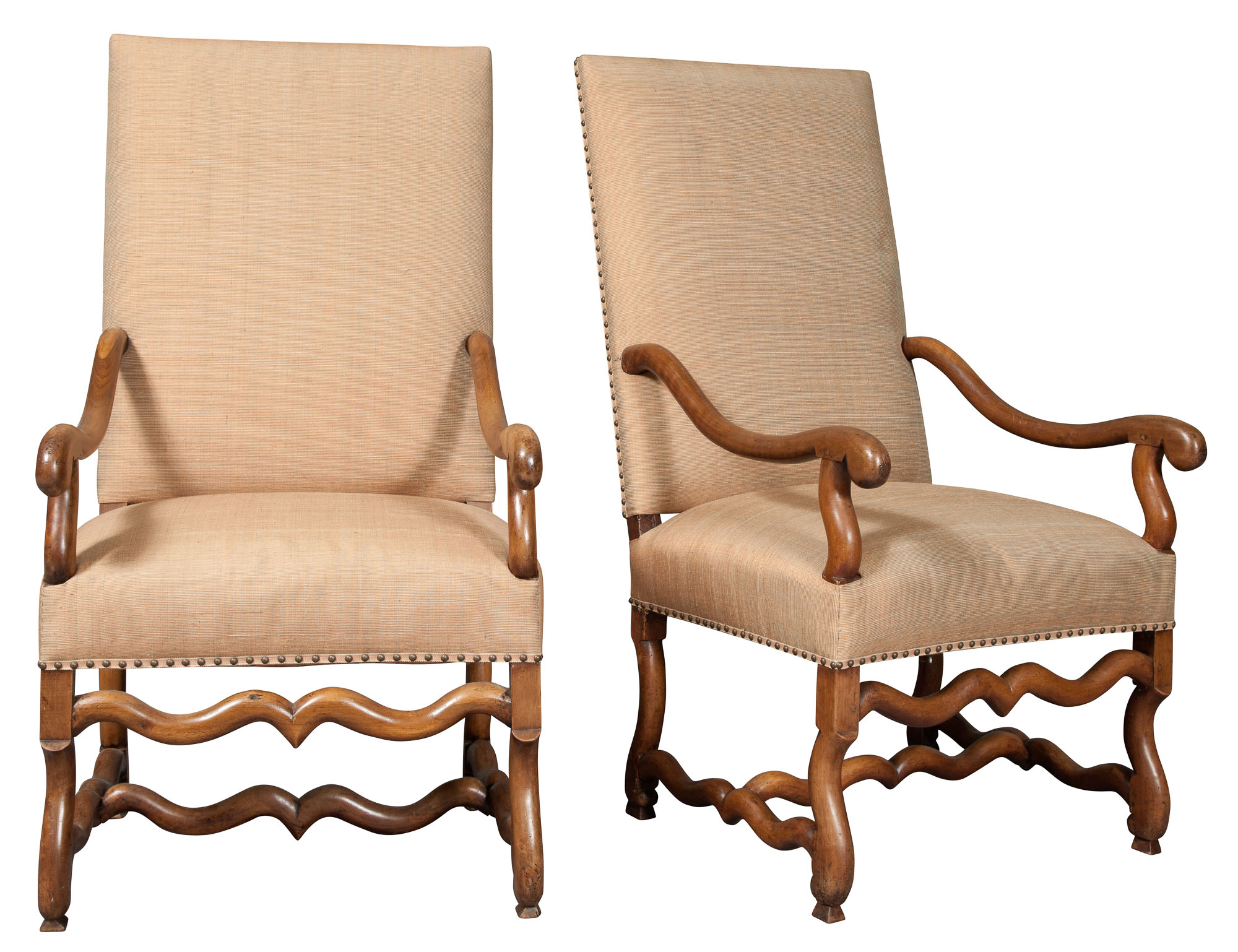 Lot image - Pair of Louis XIV Style Walnut Armchairs