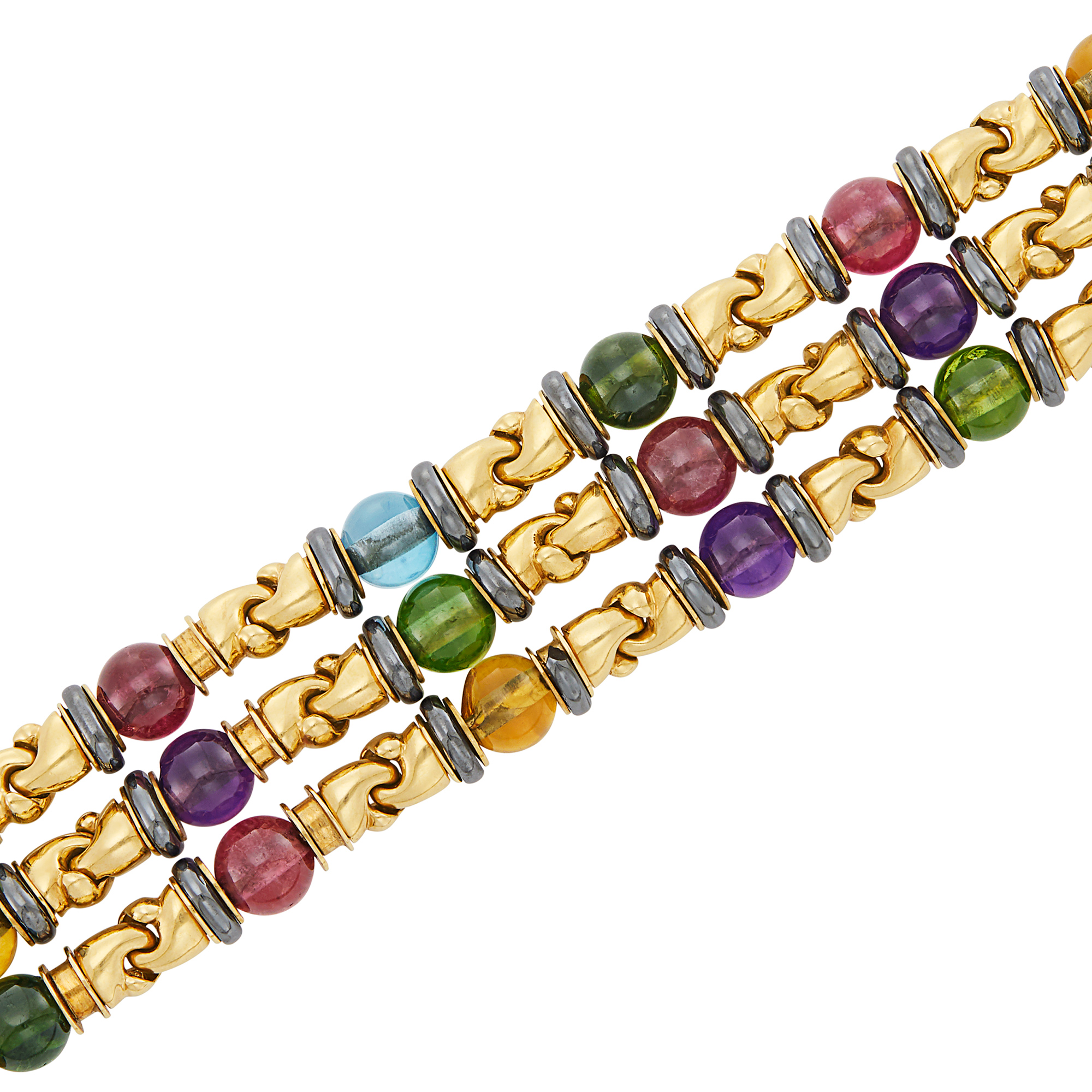 Lot image - Triple Strand Gold, Colored Stone Bead, Hematite and Cabochon Ruby Bracelet, Bulgari