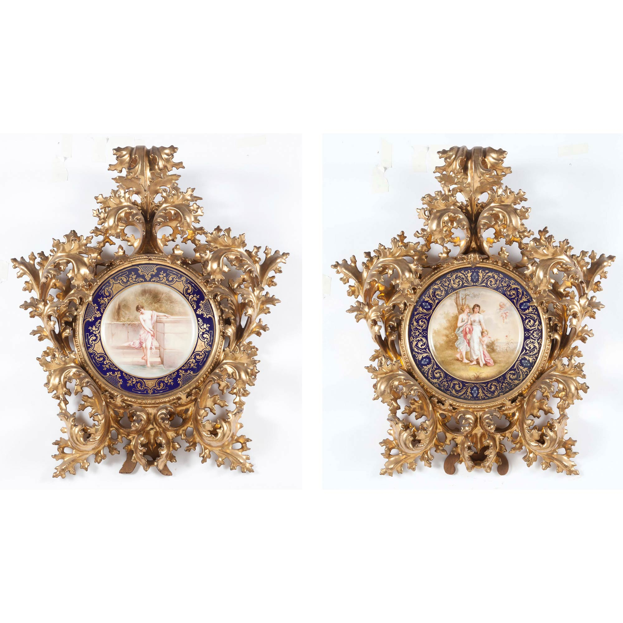 Lot image - Two Vienna Style Porcelain Cabinet Plates in Giltwood Frames