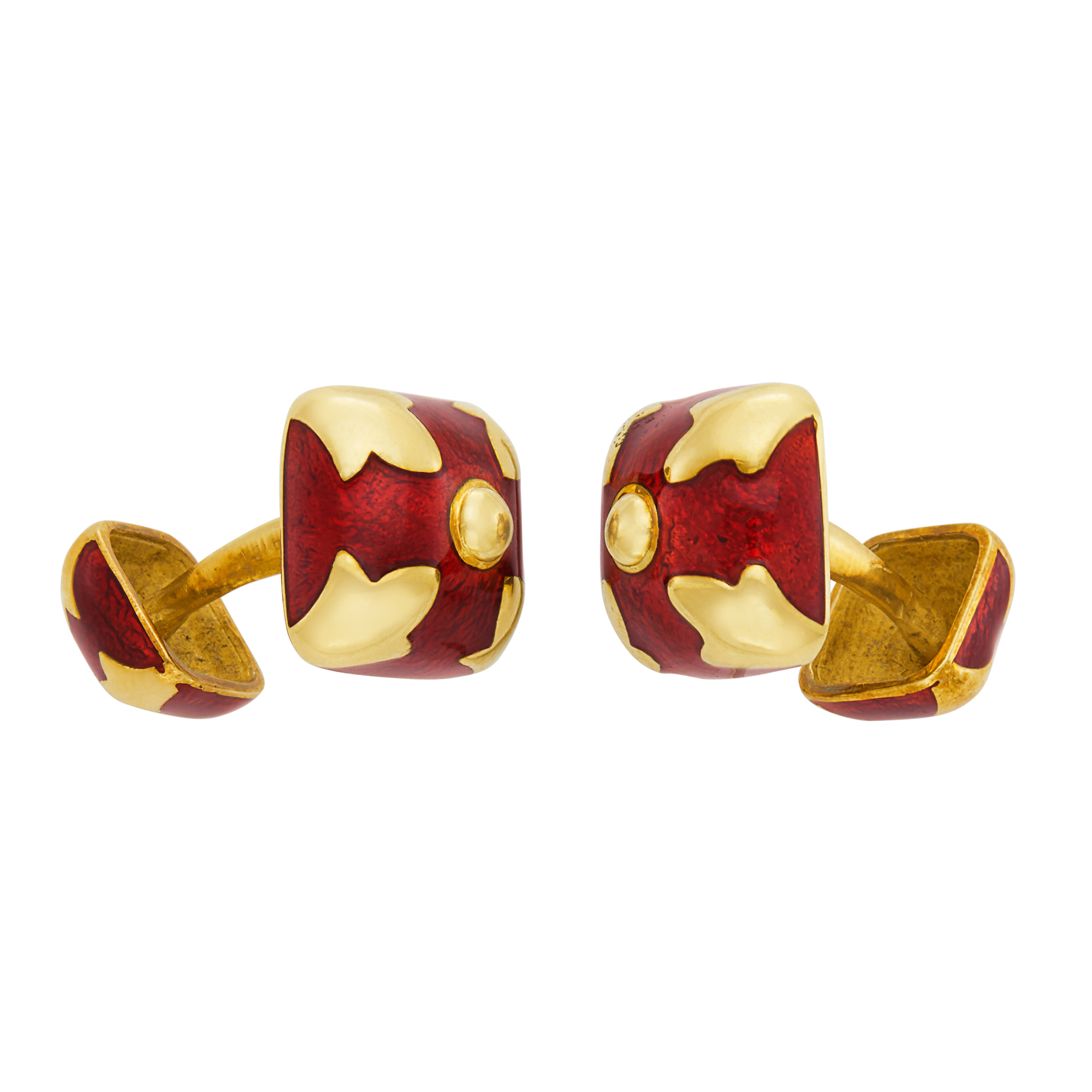 Lot image - Pair of Gold and Red Enamel Cufflinks, David Webb