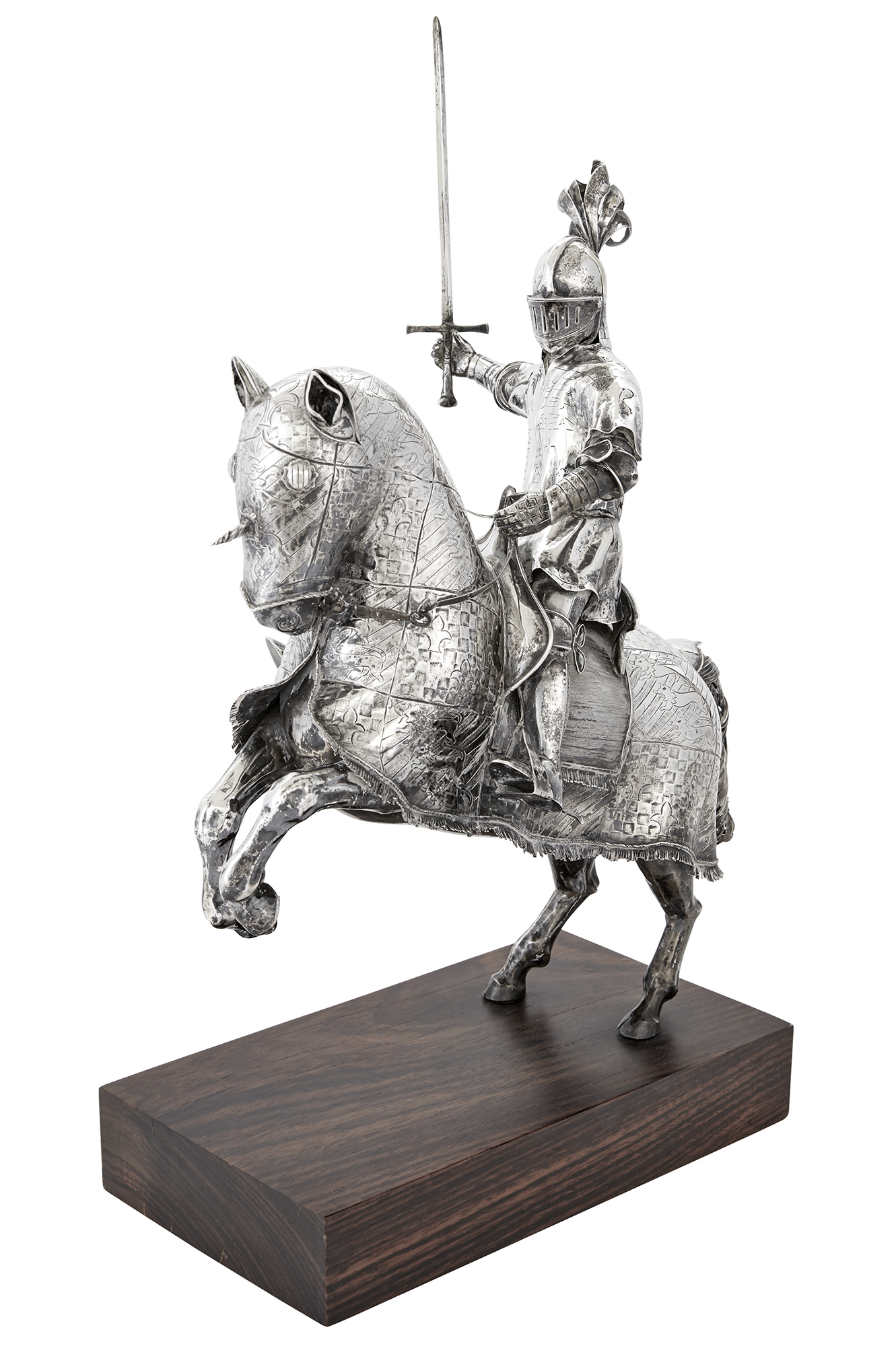Lot image - Sterling Silver Model of a Knight on Horseback