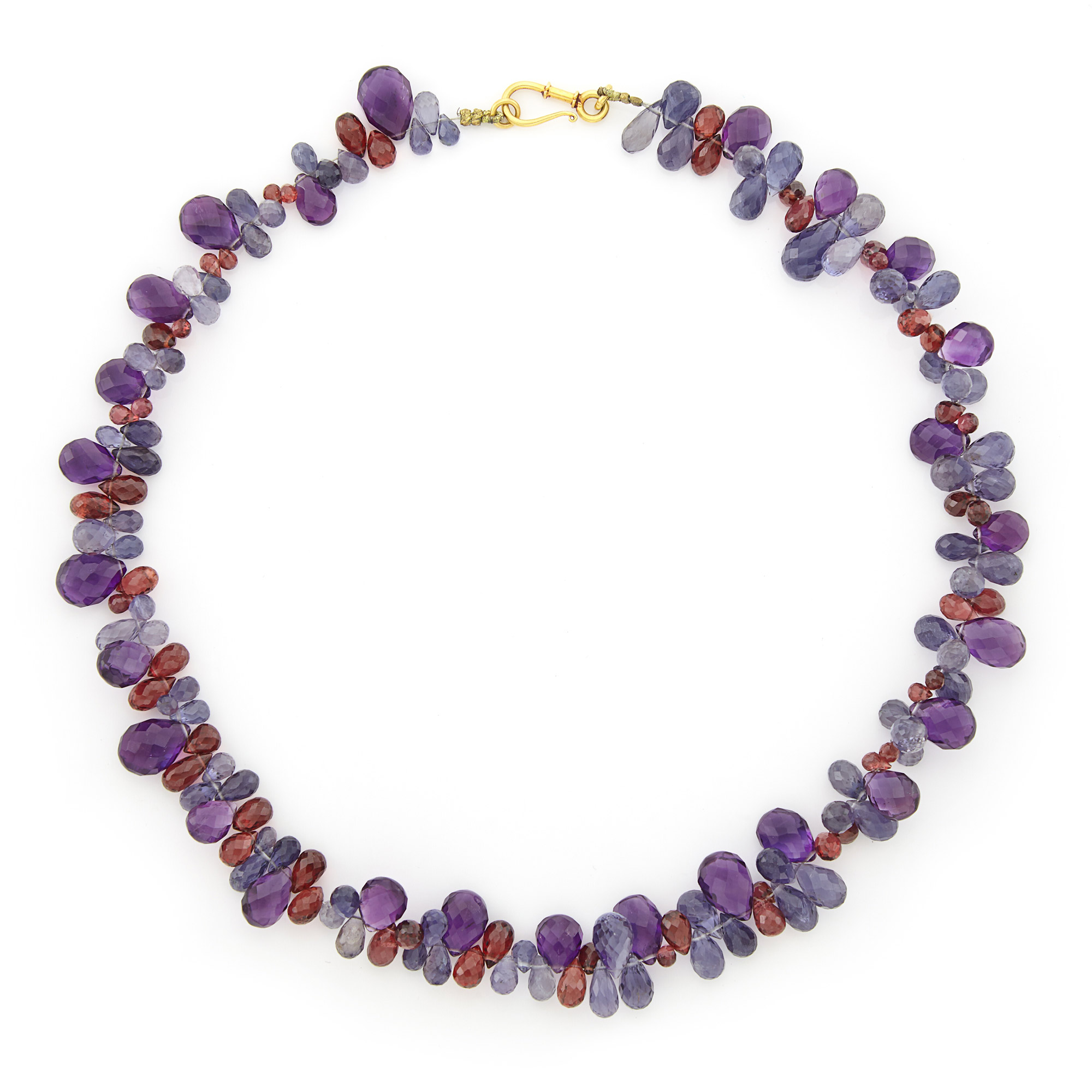 Lot image - Amethyst, Garnet, and Iolite Briolette Bead Necklace with Gold Clasp