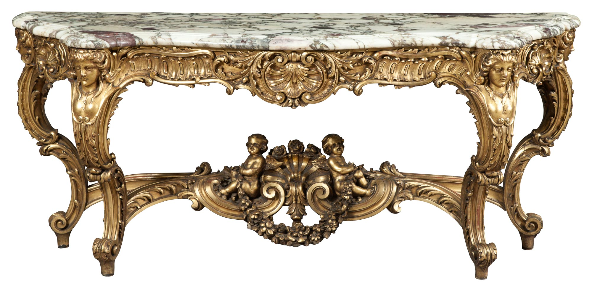 Lot image - Louis XIV Style Giltwood Console with Marble Top