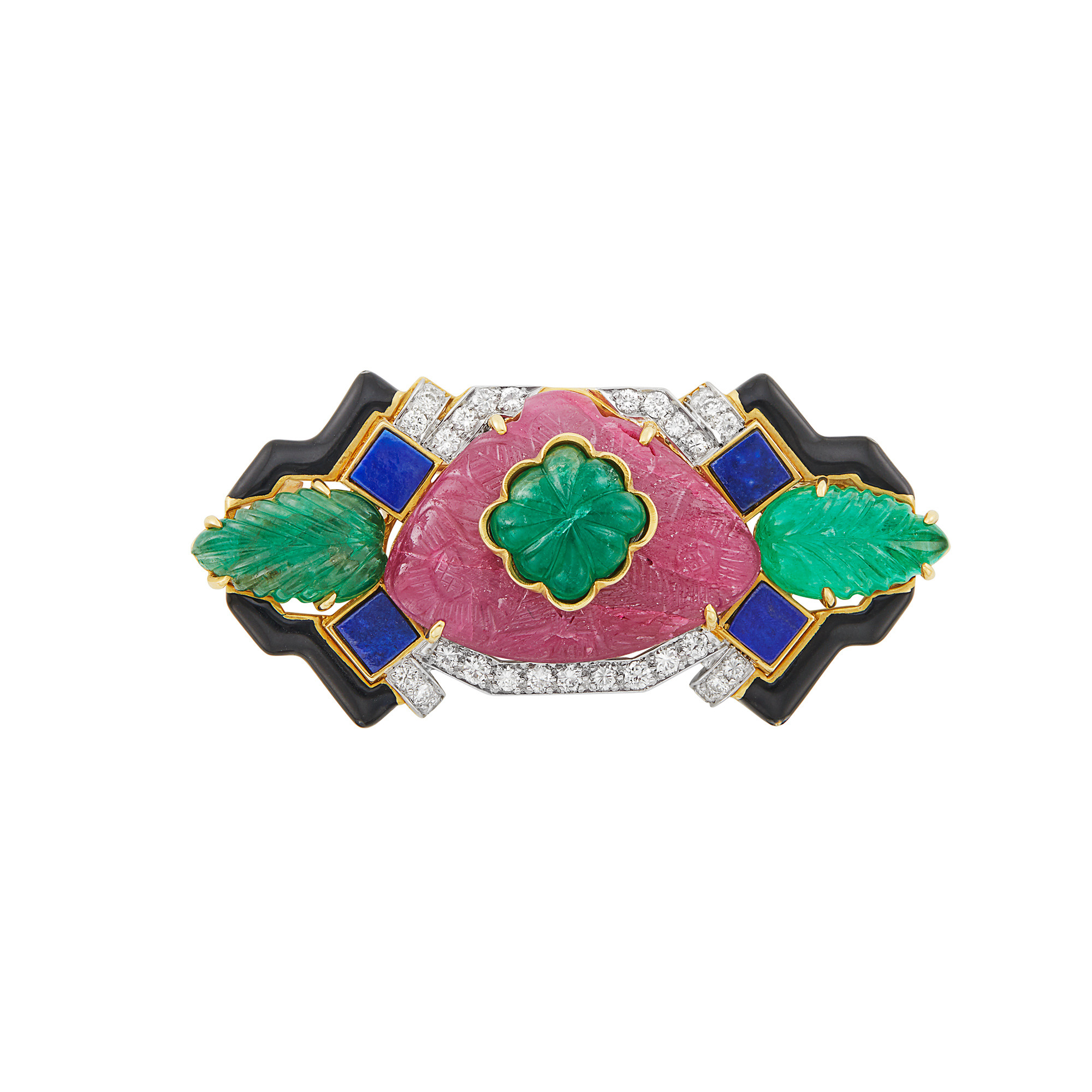 Lot image - Gold, Platinum, Carved Ruby, Emerald, Lapis, Black Enamel and Diamond Brooch, David Webb