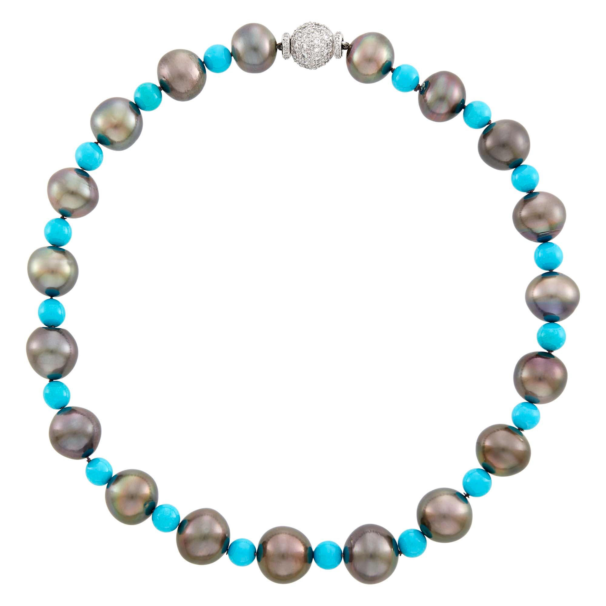 Lot image - Black Cultured Pearl and Turquoise Bead Necklace with Platinum and Diamond Ball Clasp
