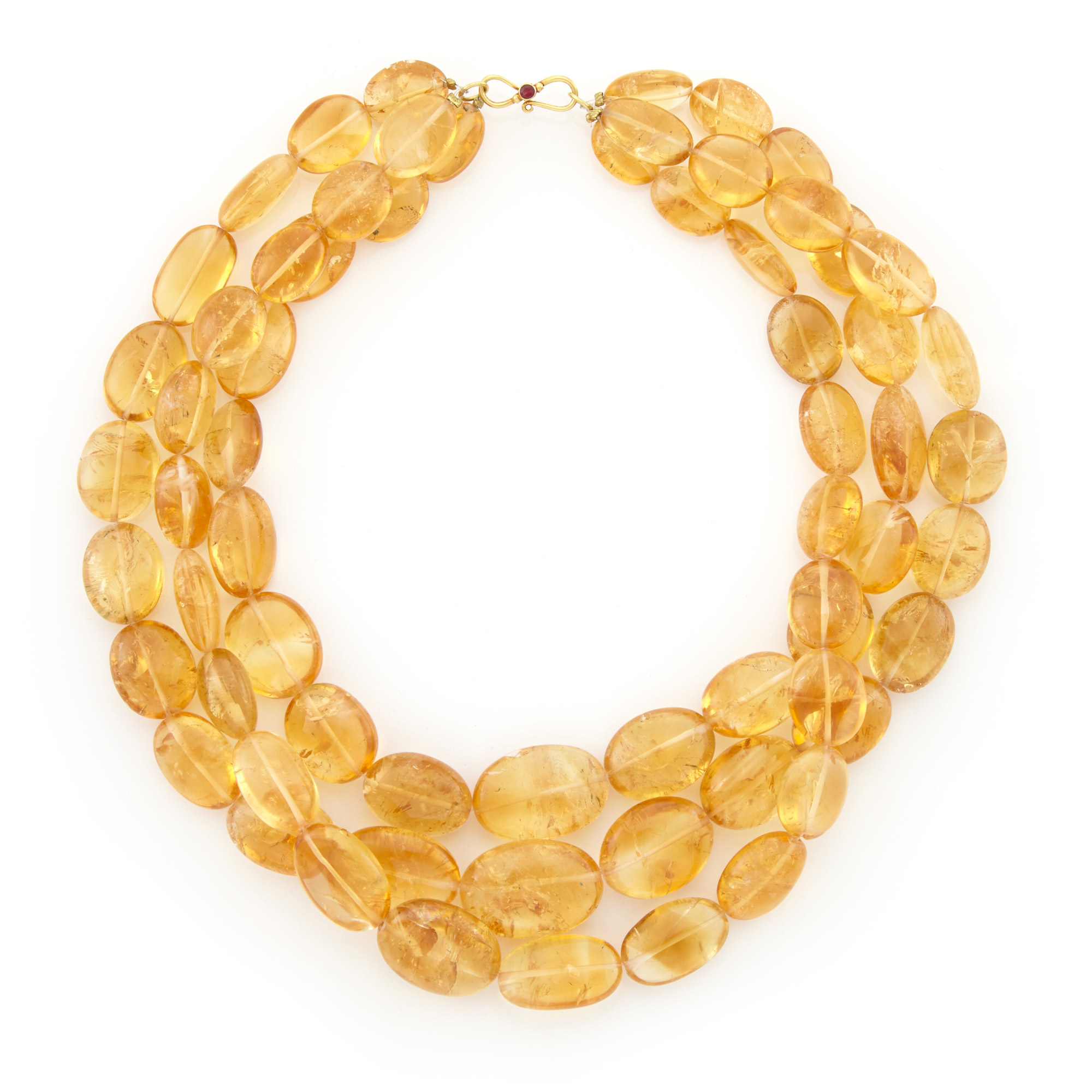 Lot image - Multi Strand Citrine Bead Necklace with Gold Clasp