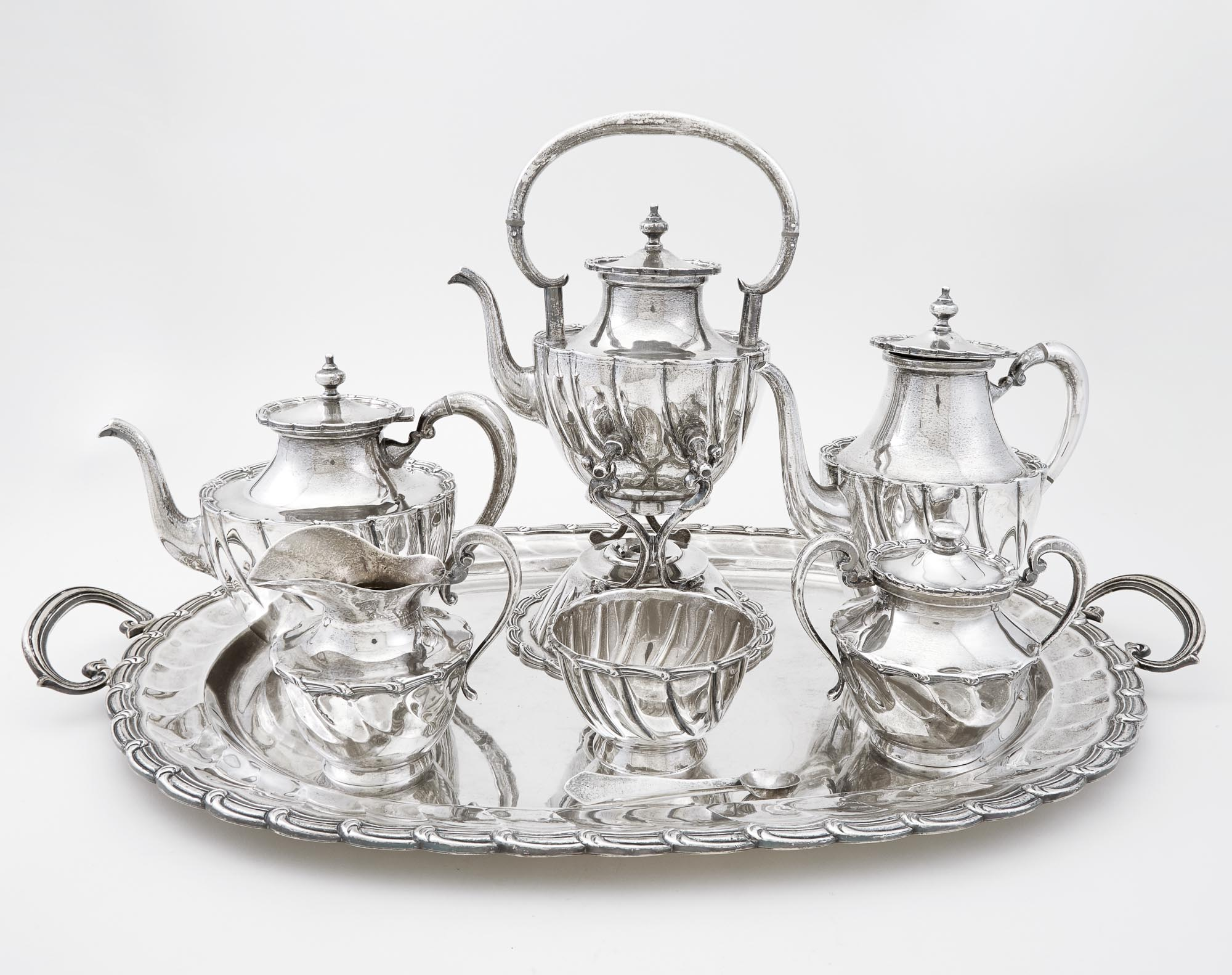 Lot image - Mexican Sterling Silver Coffee and Tea Service