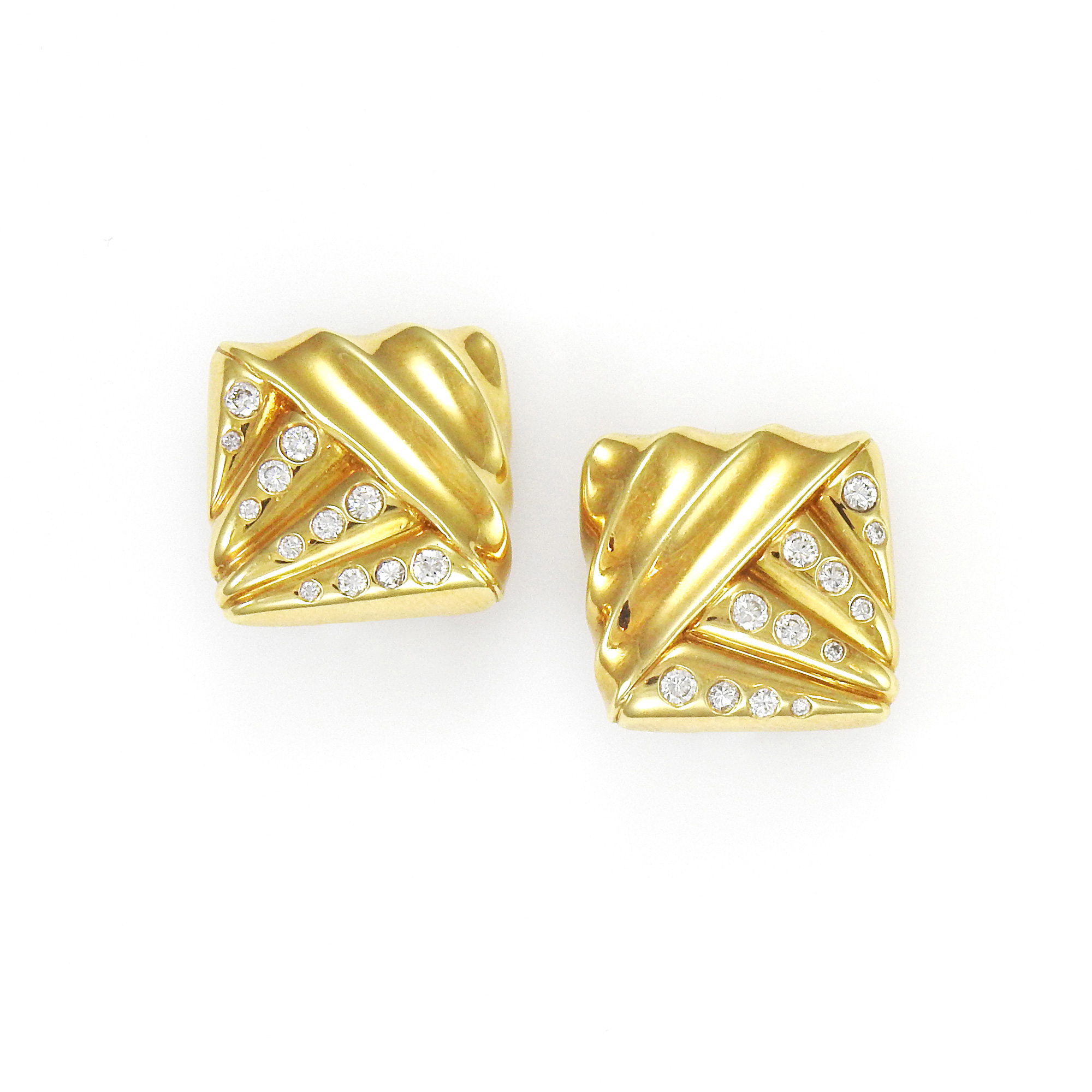 Lot image - Cartier Pair of Gold and Diamond Earclips