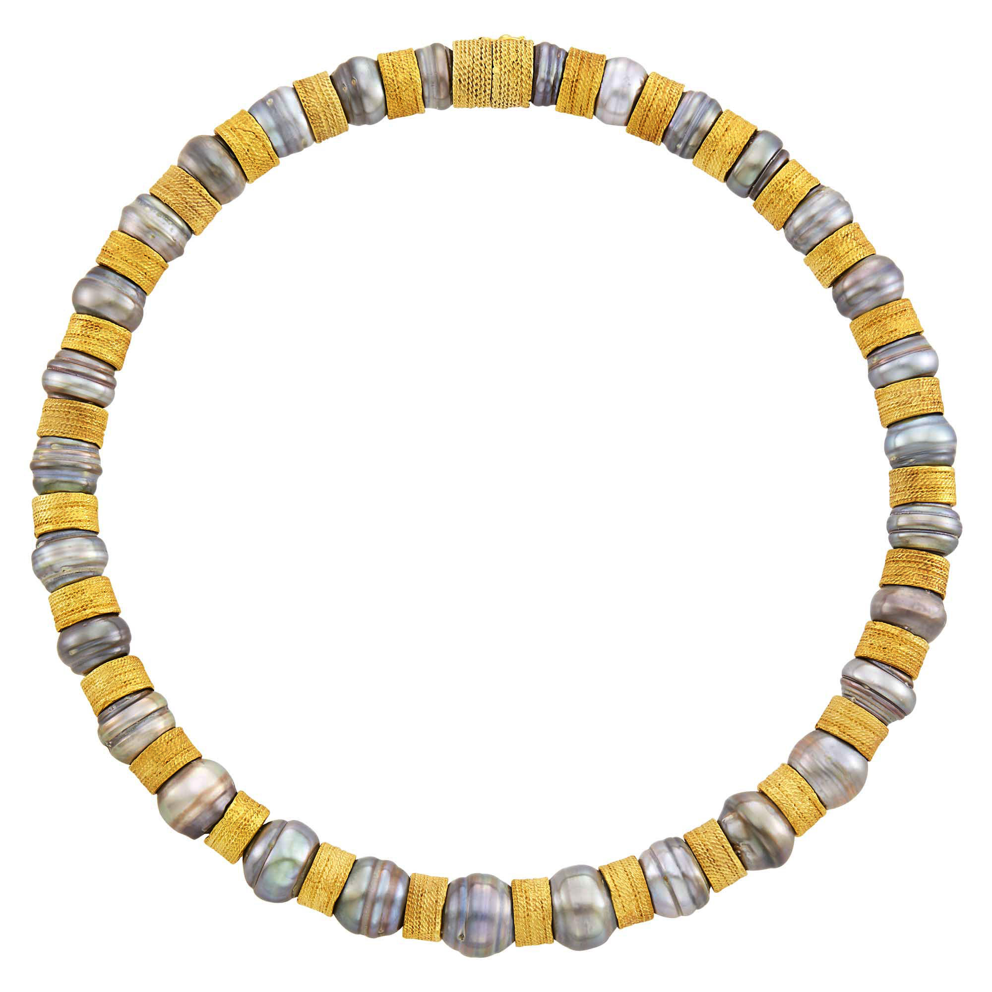 Lot image - Gold and Semi-Baroque Tahitian Gray Cultured Pearl Necklace