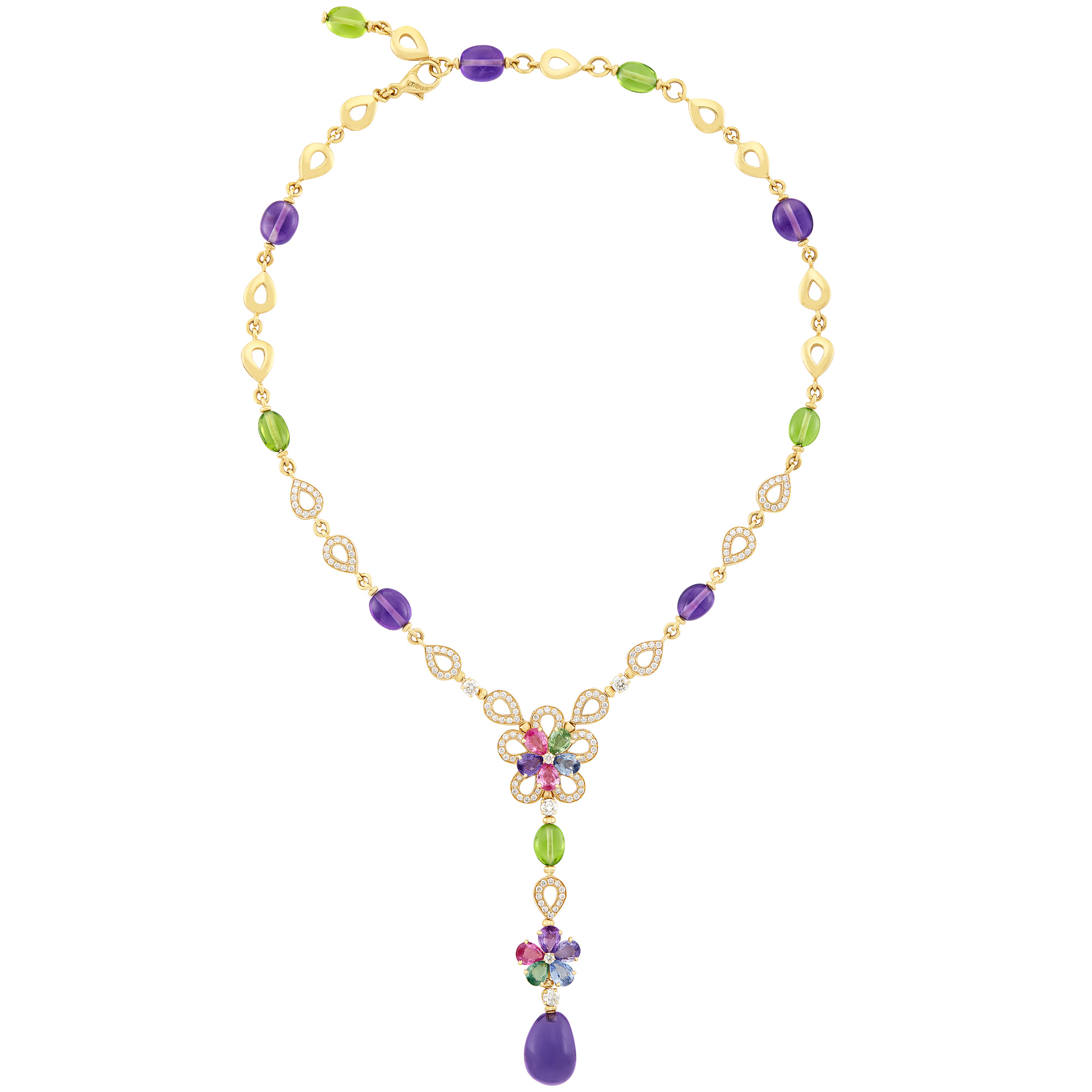 Lot image - Gold, Multicolored Sapphire, Peridot and Amethyst Bead Flower Pendant-Necklace, Bulgari