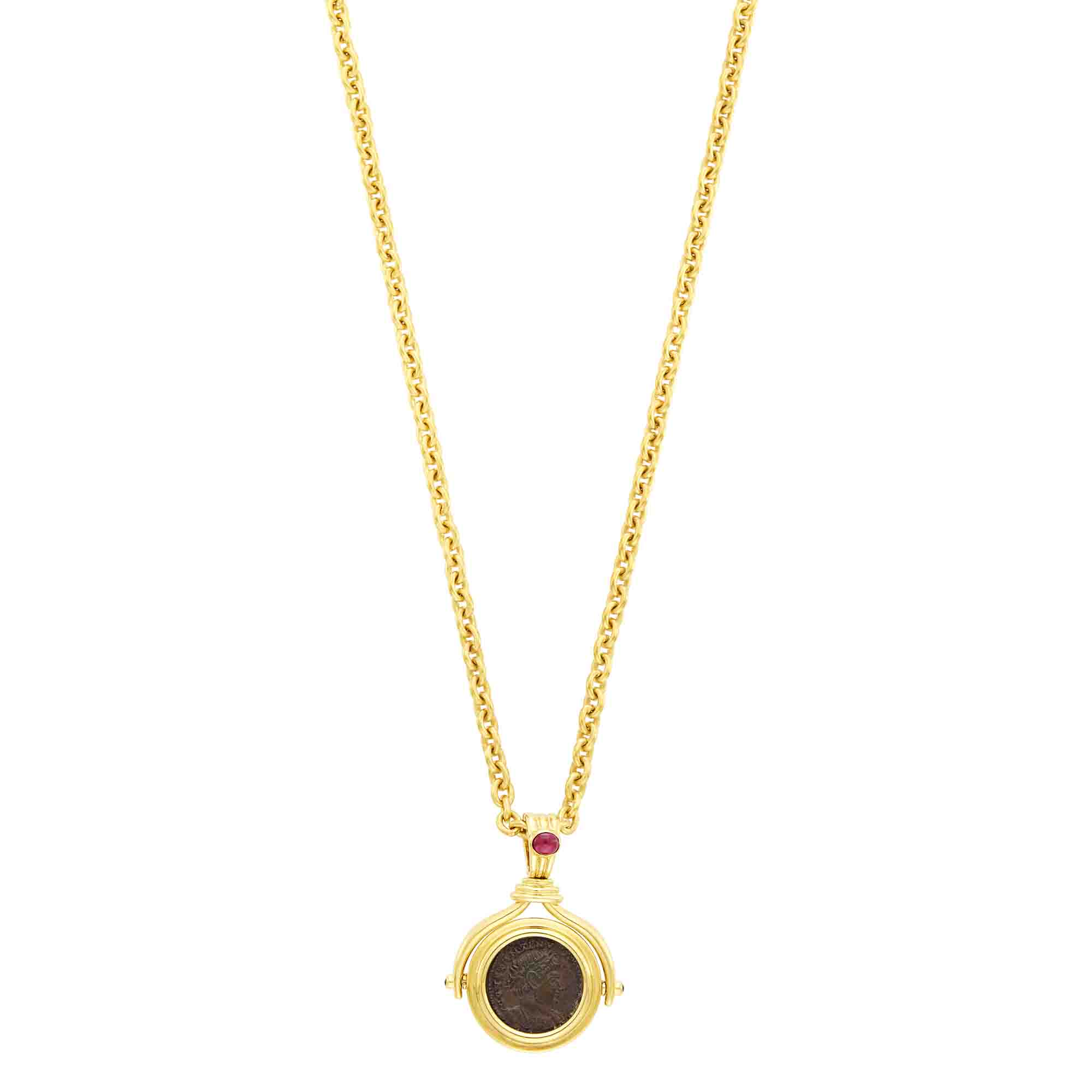 Lot image - Gold, Ancient Coin and Ruby Pendant-Necklace