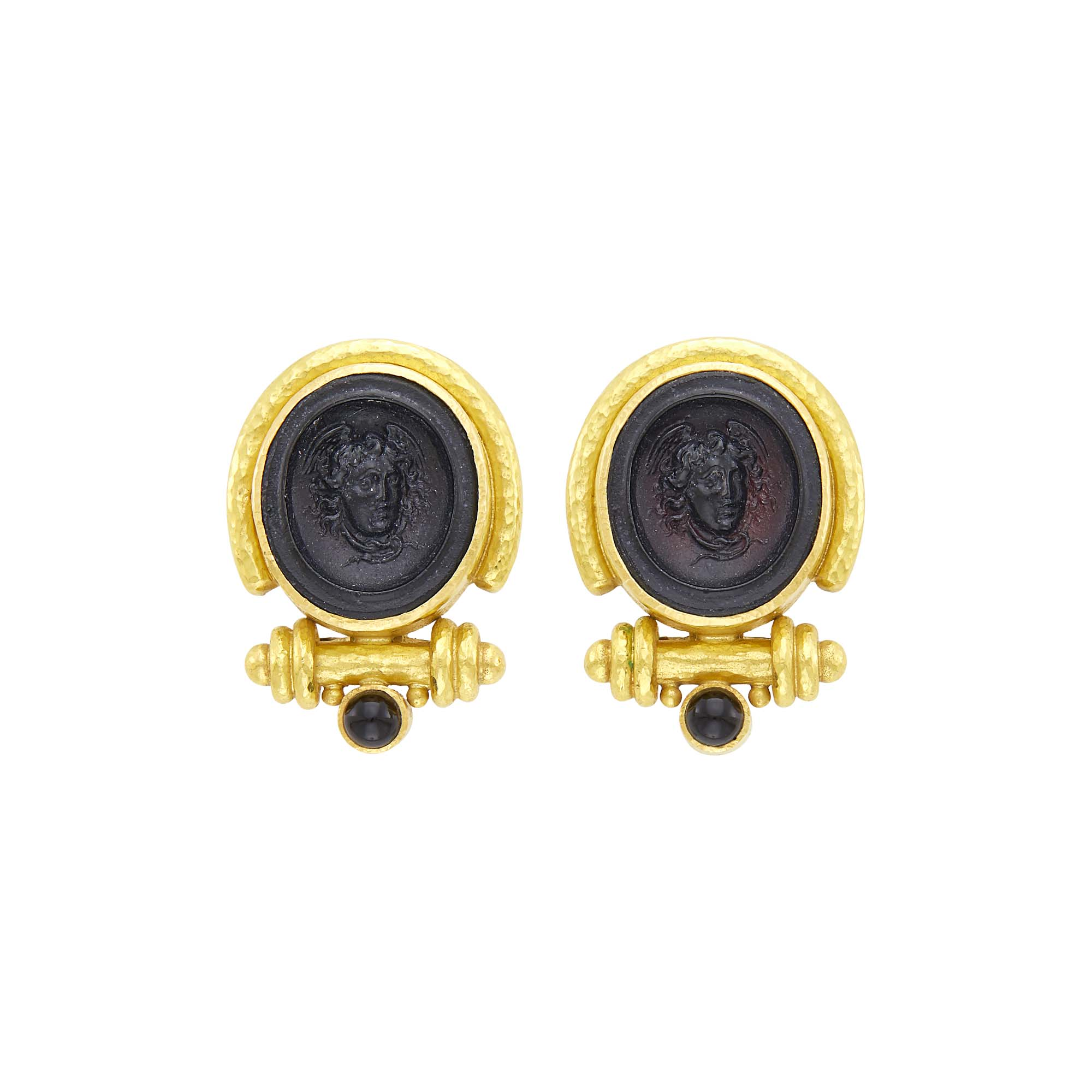 Lot image - Elizabeth Locke Pair of Hammered Gold, Venetian Black Glass Cameo and Black Onyx Earclips
