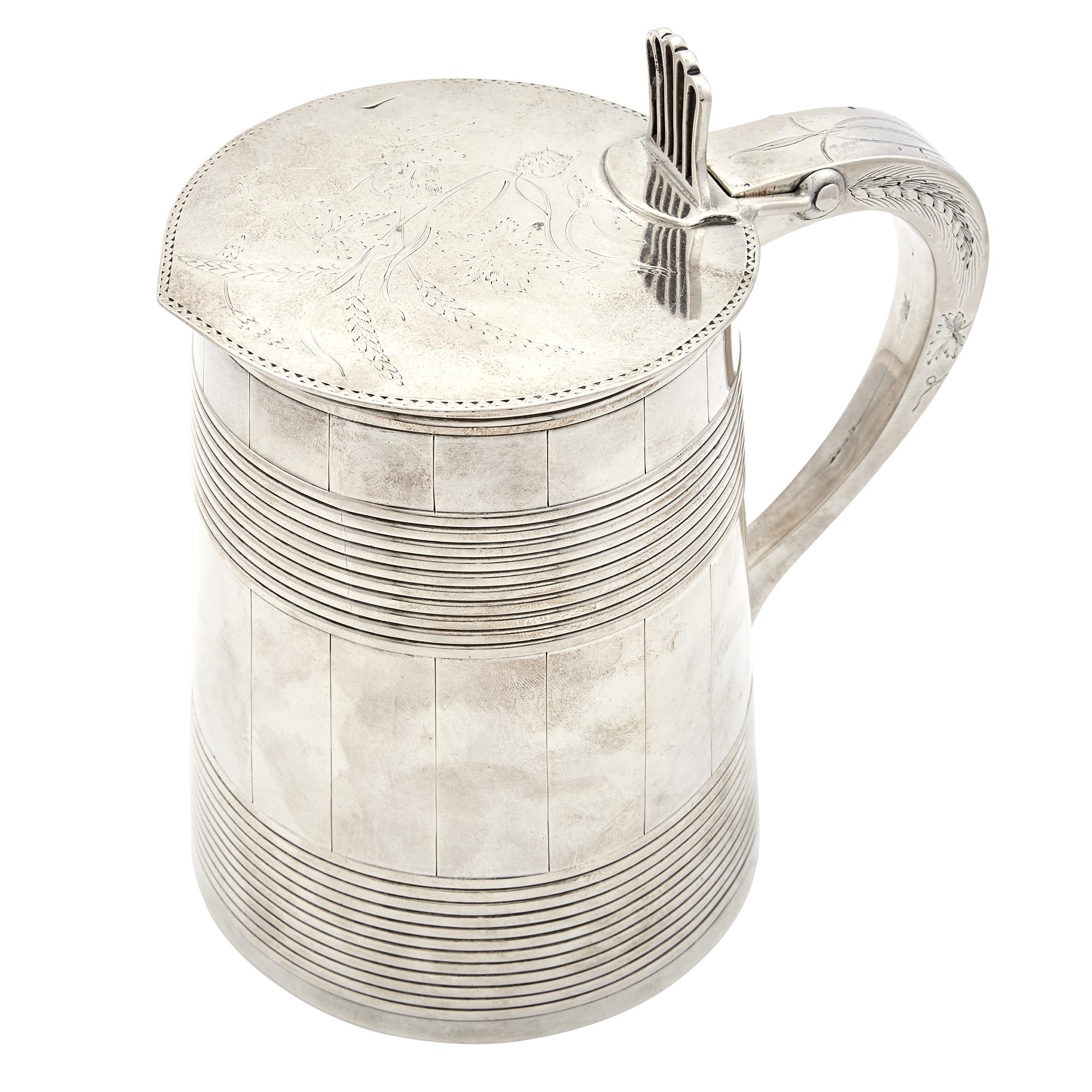 Lot image - George III Sterling Silver Covered Tankard