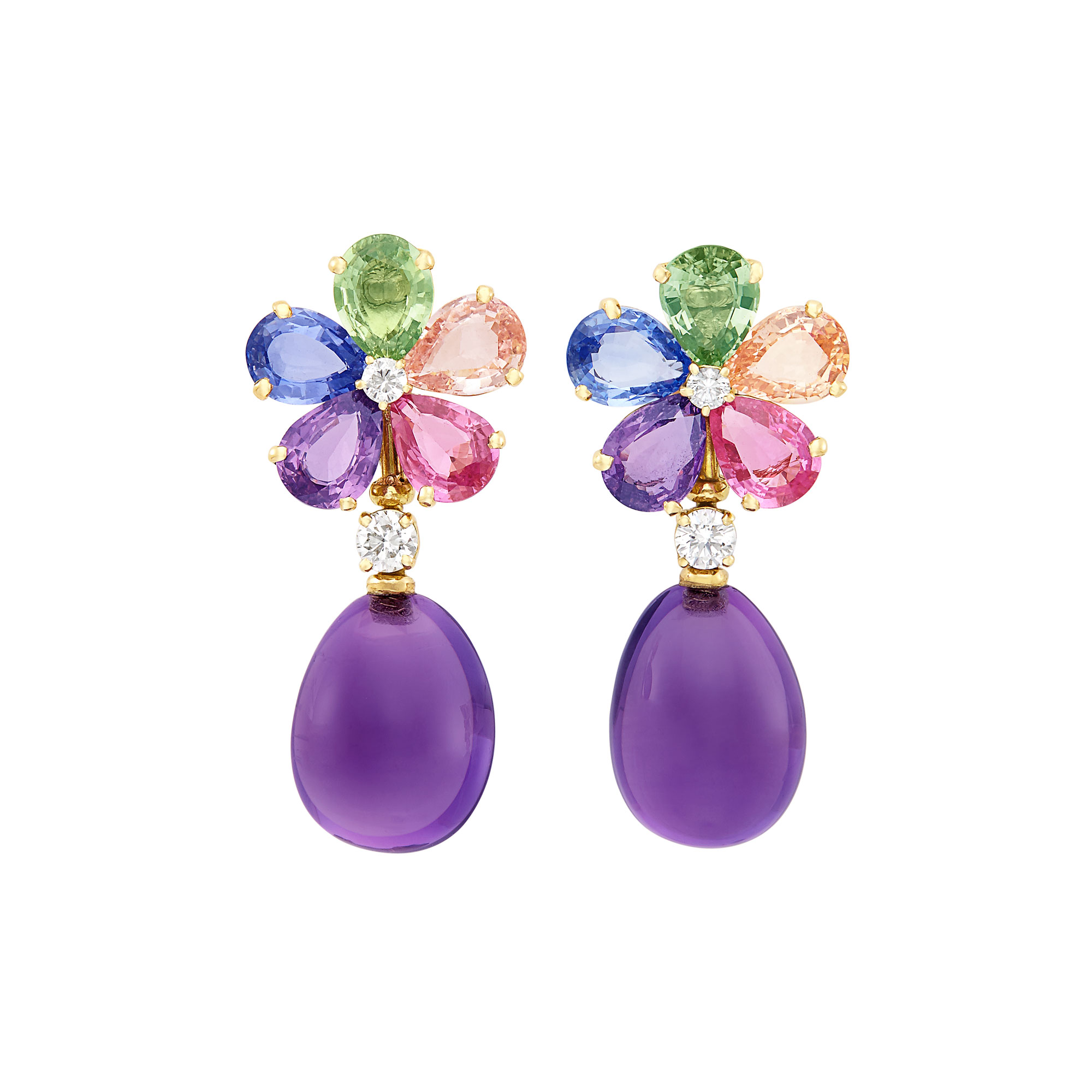 Lot image - Pair of Gold, Multicolored Sapphire, Diamond and Cabochon Amethyst Flower Pendant-Earrings, Bulgari