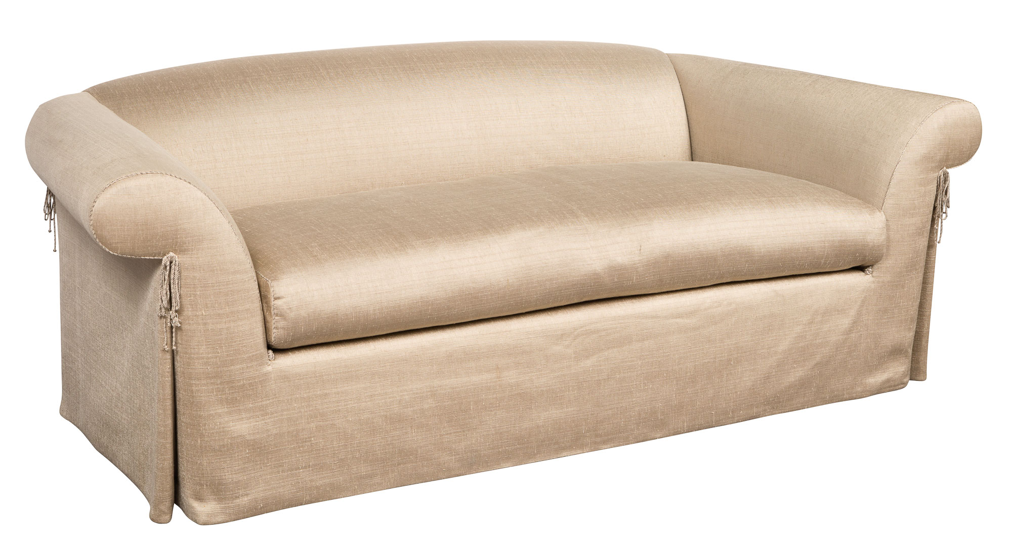 Lot image - Silk-Upholstered Single-Cushion Sofa