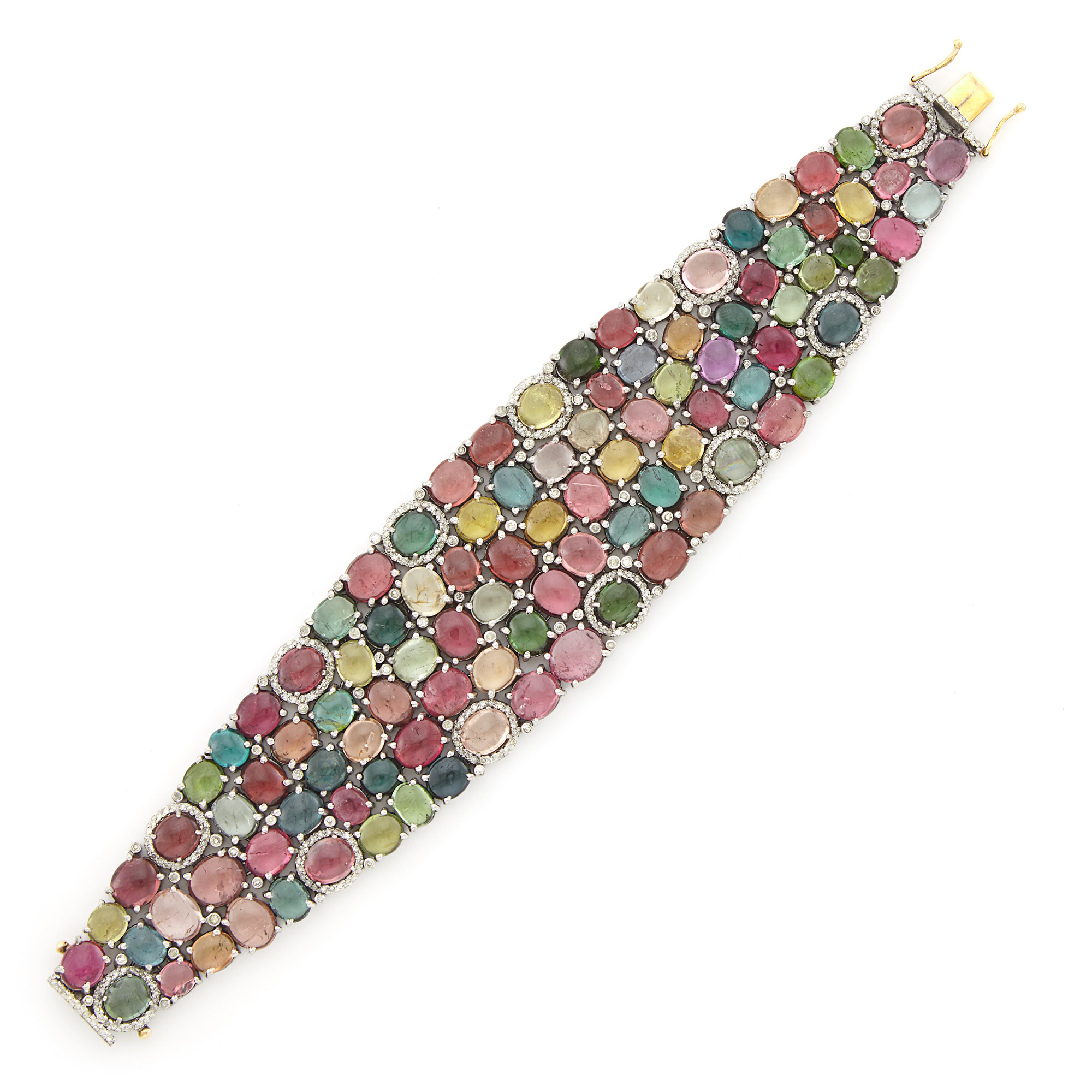 Lot image - Wide Blackened and Yellow Gold, Multicolored Cabochon Tourmaline and Diamond Mesh Bracelet
