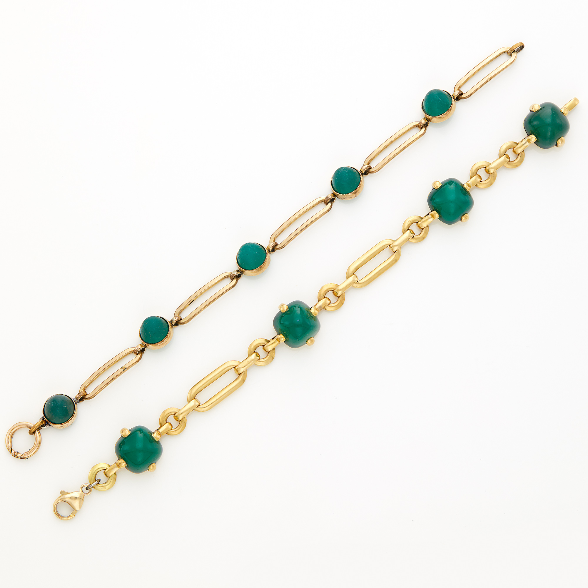 Lot image - Gold and Green Chalcedony Bracelet and Gold-Filled and Glass Bracelet