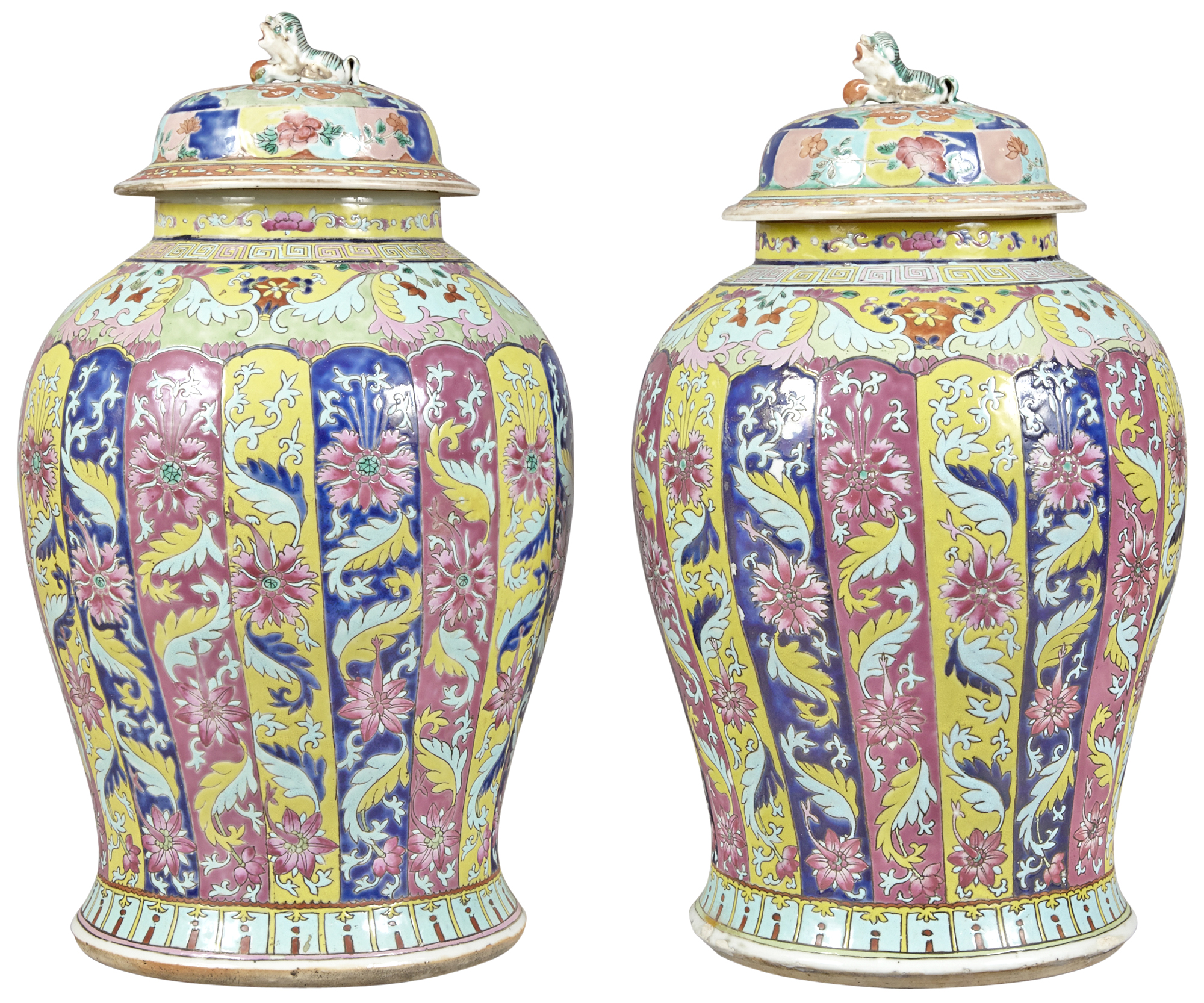 Lot image - A Pair of Chinese Enameled Porcelain Covered Jars