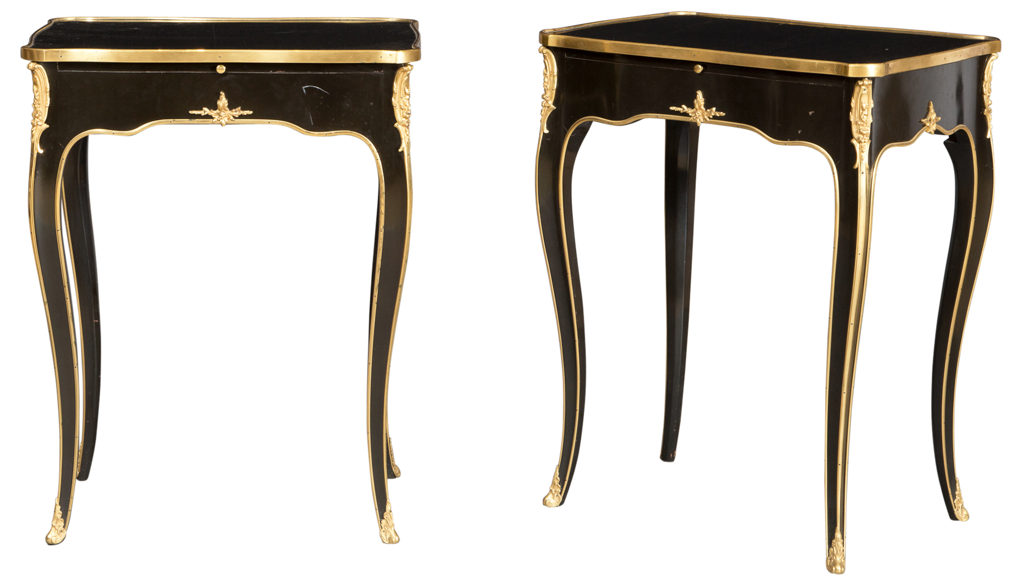 Lot image - Pair of Louis XV Style Gilt Bronze Mounted Ebonized Wood Side Tables