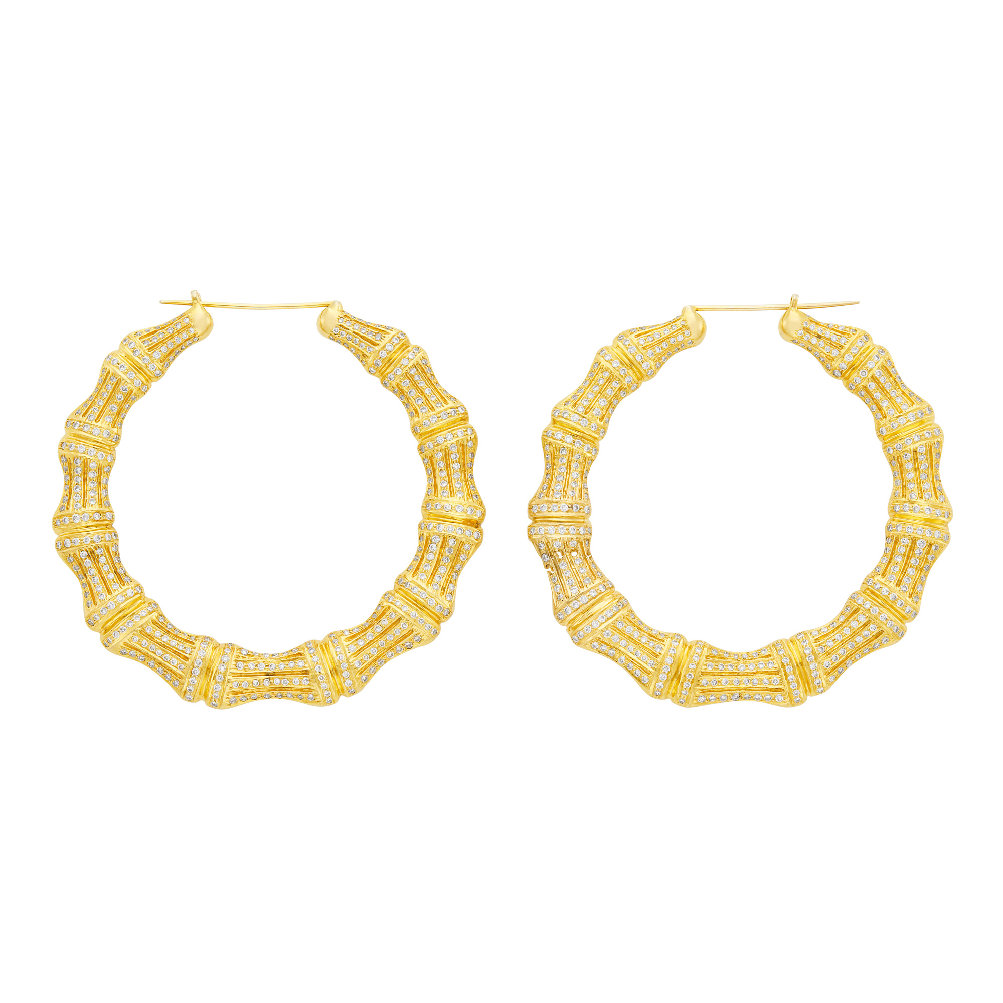 Lot image - Pair of Oversized Gold and Diamond Hoop Earrings
