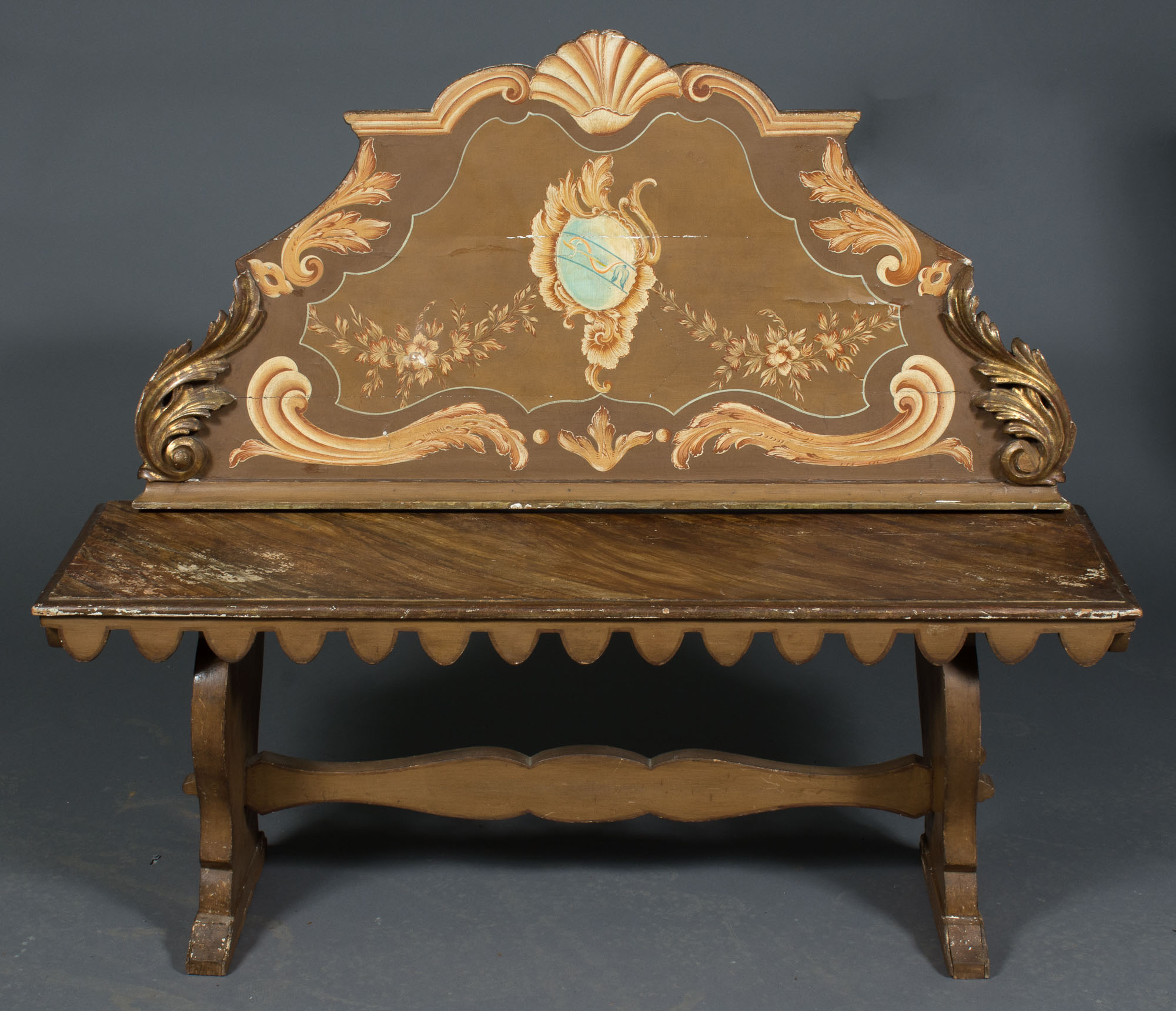 Italian Painted Faux Marble And Parcel Gilt Bench Doyle Auction House