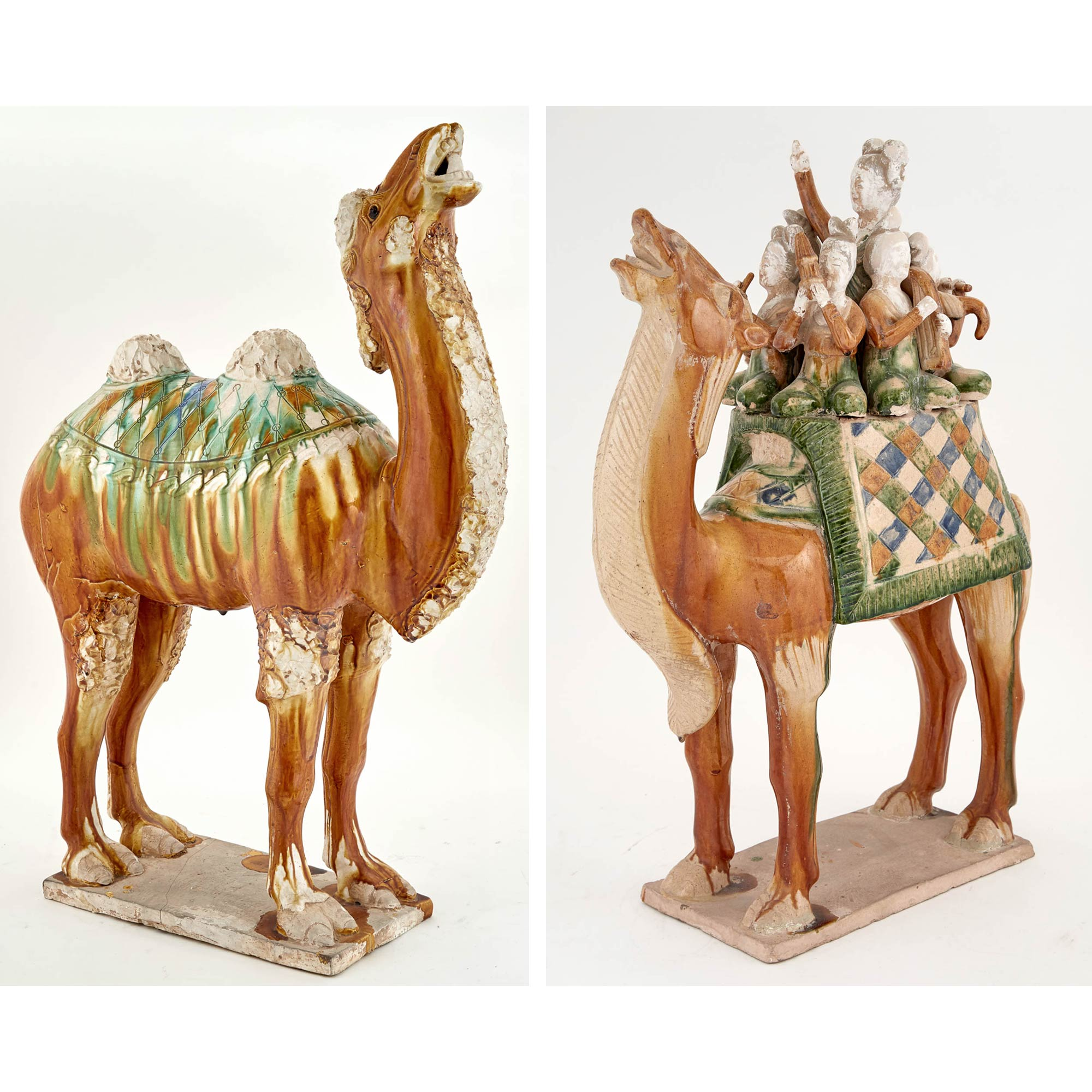 Lot image - Two Chinese Tang Dynasty Style Sancai Glazed Earthenware Figures of Camels