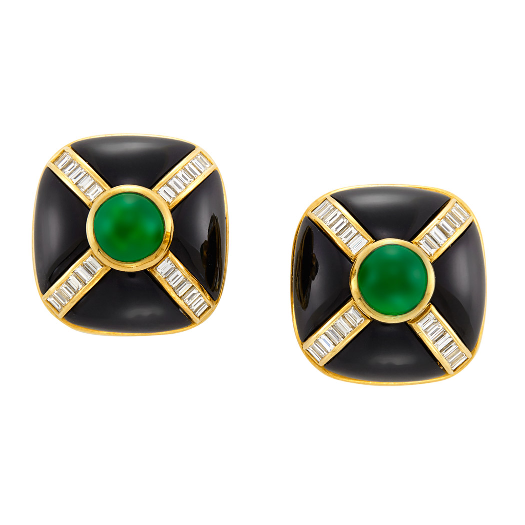 Lot image - Pair of Gold, Black Onyx, Cabochon Emerald and Diamond Earclips