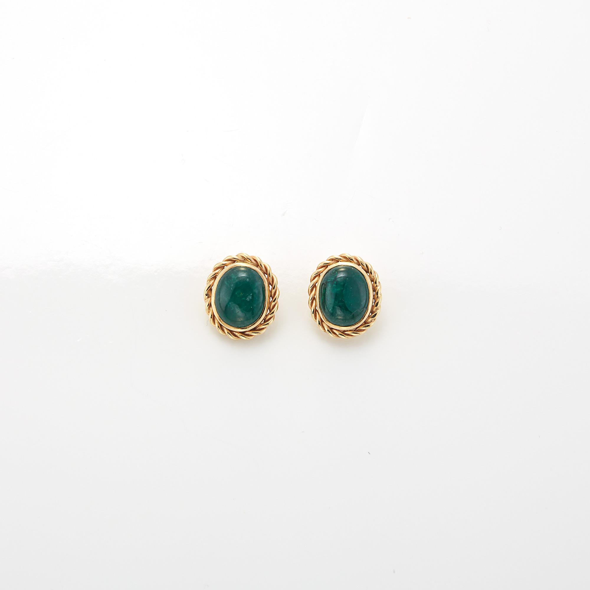 Lot image - Pair of Gold and Cabochon Emerald Earrings