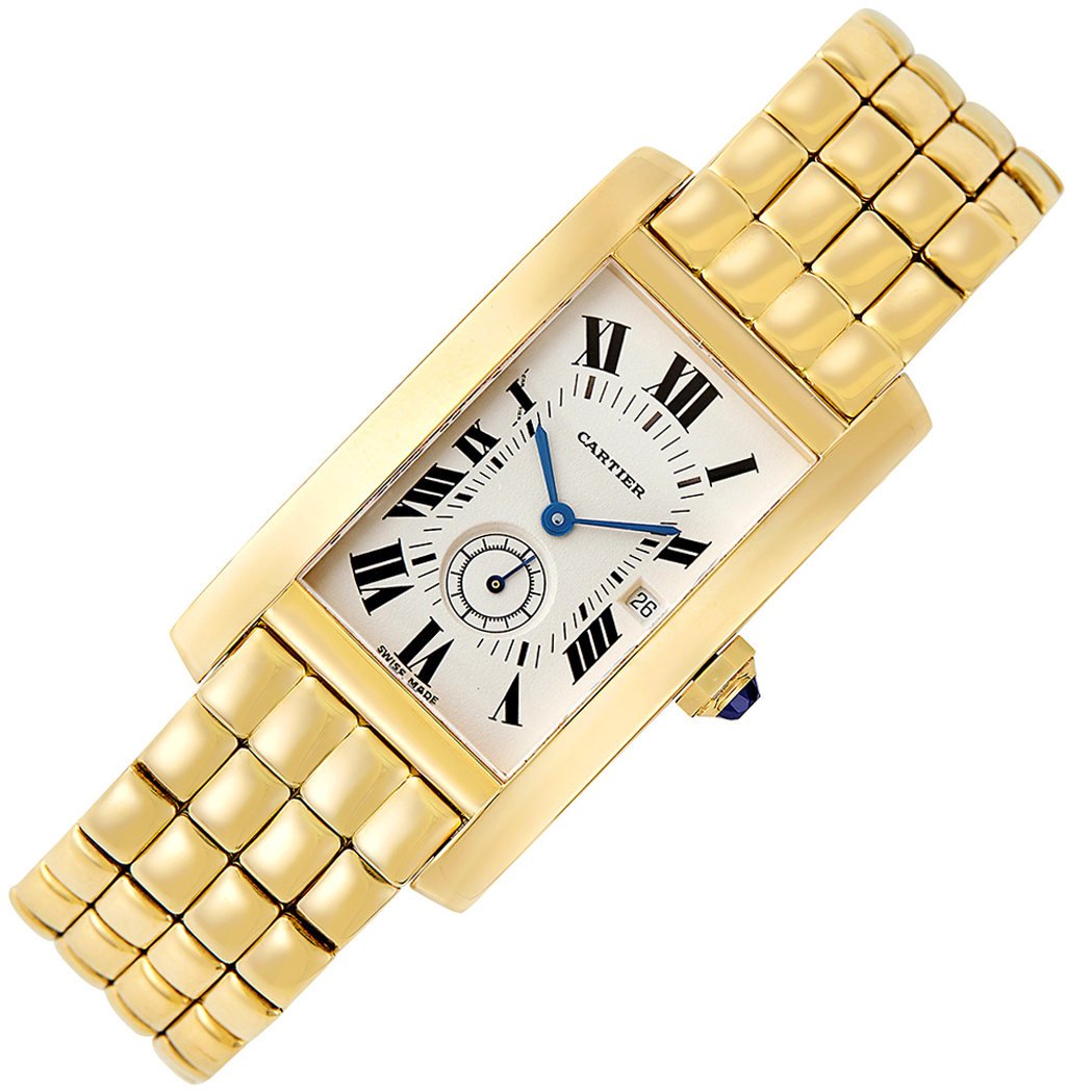 Lot image - Gold 'Tank Americaine' Wristwatch, Cartier, Paris