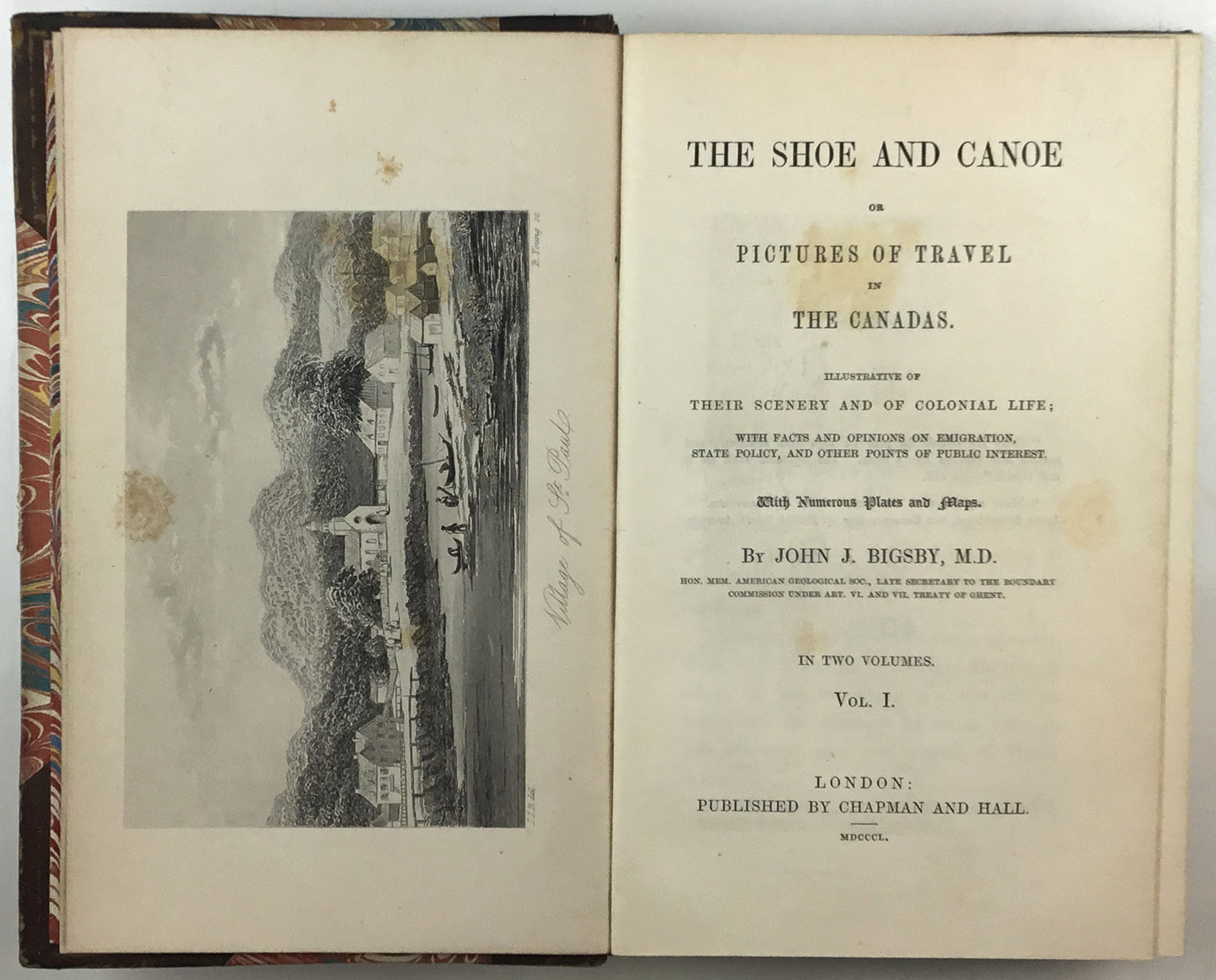 Lot image - BIGSBY, JOHN J.  The Shoe and Canoe or Pictures of Travel in the Canadas.