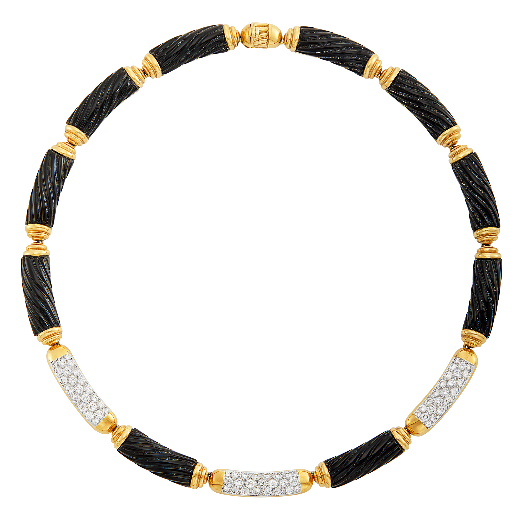 Lot image - Two-Color Gold, Fluted Black Onyx and Diamond Necklace