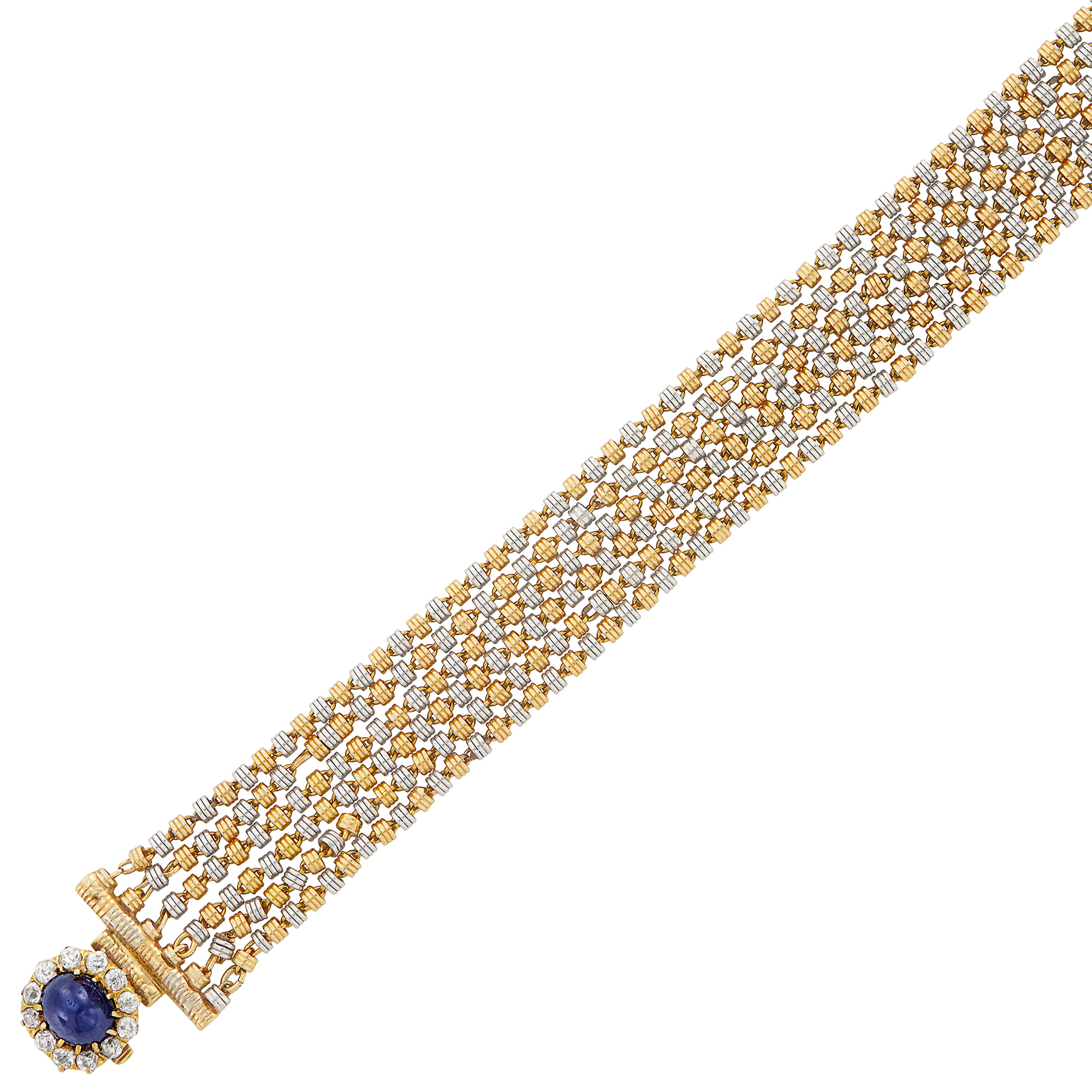 Lot image - Antique Six Strand Gold, Platinum, Cabochon Sapphire and Diamond Bracelet