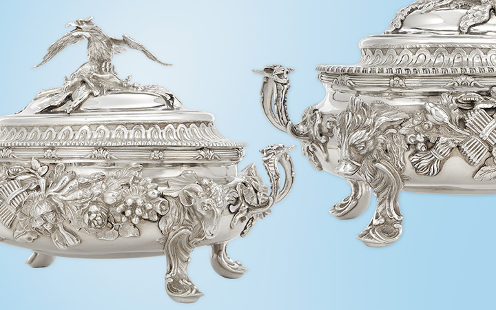Assembled Pair of George II/III Sterling Silver Covered Soup Tureens, William Cripps, London, 1757, John Parker & Edward Wakelin, London, 1770