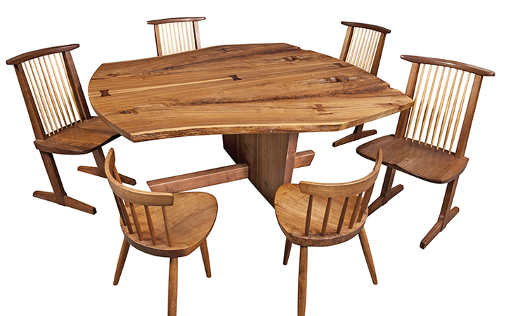 George Nakashima, SanSo Table, Conoid Chairs and Mira Chairs