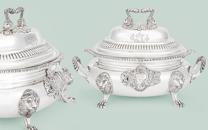 Pair of George IV Irish Sterling Silver Covered Soup Tureens