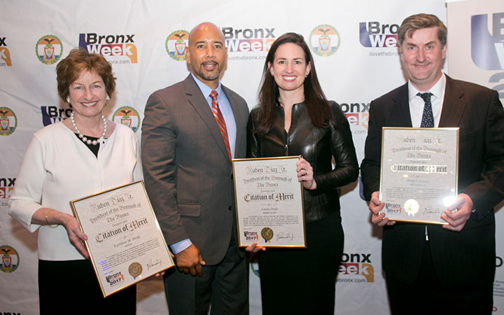 Kathleen Doyle; Bronx Borough President Ruben Diaz, Jr; Laura Doyle and Brian Corcoran at the 2017 Bronx Week Salute to Bronx Businesses Luncheon