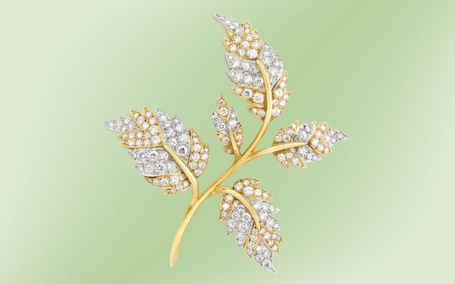 Gold, Platinum and Diamond Leaf Brooch, Tiffany & Co., Schlumberger