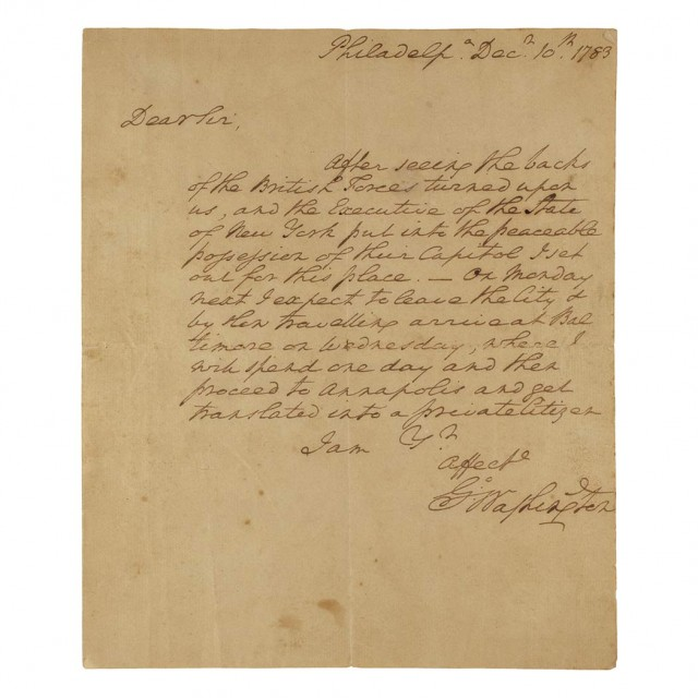 George Washington, Autograph letter signed to James McHenry. Philadelphia: 10 December 1783. Sold for $362,500. A World Auction Record for a Washington Single-Page Letter