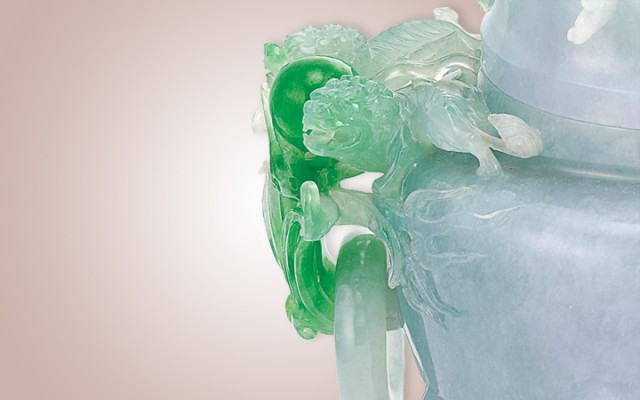Chinese Jadeite Censer (detail), 19th Century. Sold for $1,082,000.