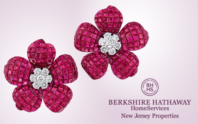 Ruby and Diamond Flower Earclips