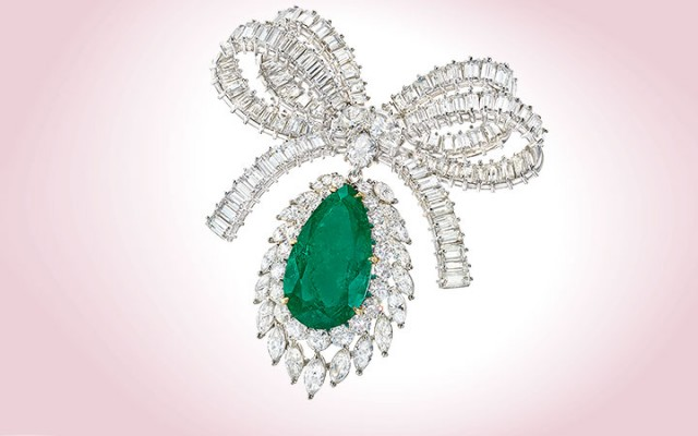 Colombian Emerald and Diamond Bow Brooch
