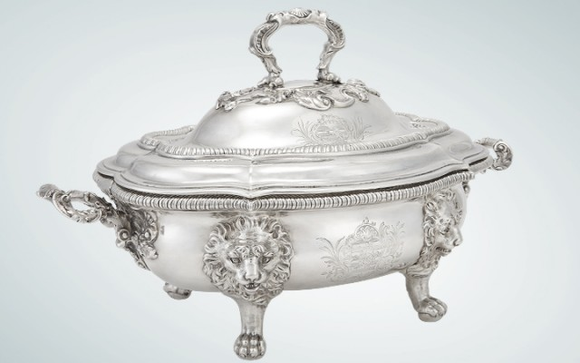 George II Sterling Silver Covered Soup Tureen, Paul de Lamerie, London, 1740.