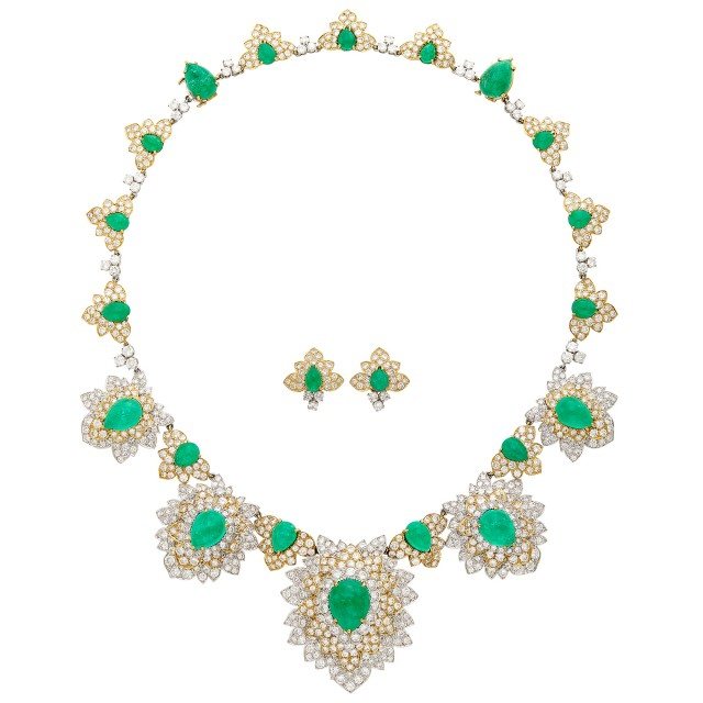 Cabochon Emerald and Diamond Pendant Clip-Brooch Necklace, David Webb and Pair of Earclips. Property of a Chevy Chase Maryland Lady. Est. 60,000-80,000. Auction Oct 16