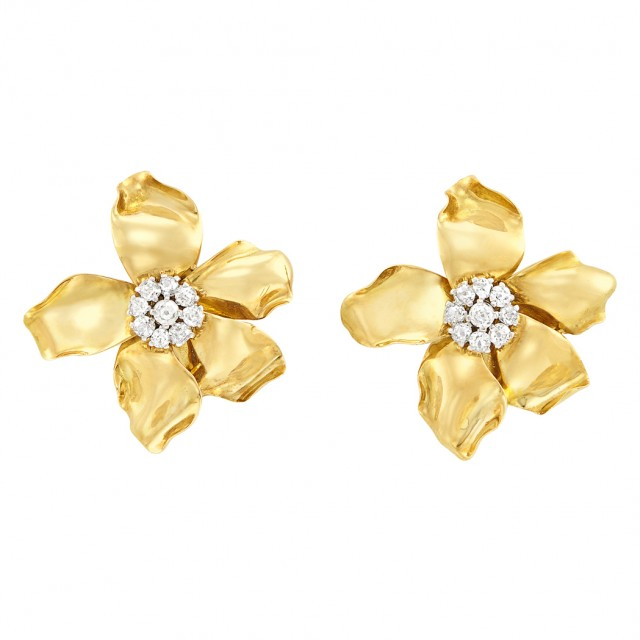 Pair of Gold, Platinum and Diamond Flower Clip Brooch-Earclips, France