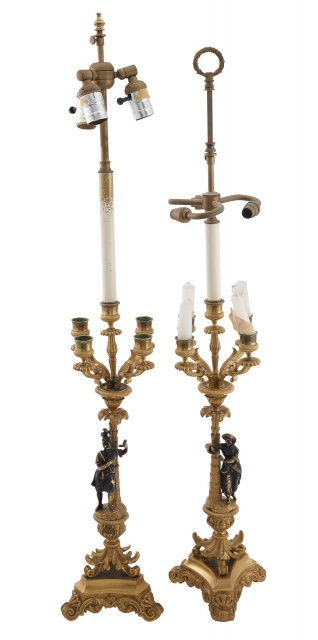 Pair of Restauration Gilt-Bronze Figural Candelabra