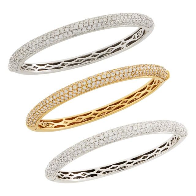 Three White and Rose Gold and Diamond Bangle Bracelets