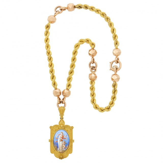 Two-Color Gold Chain Necklace and Etruscan Revival Gold and Enamel Pendant-Locket