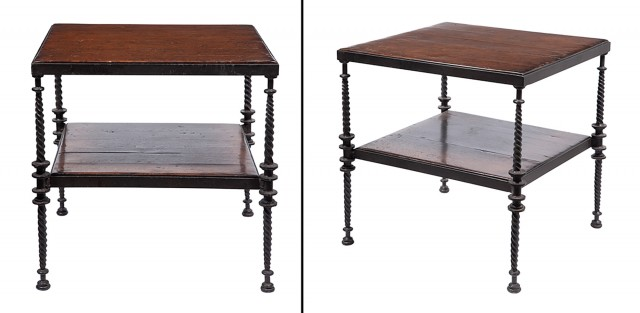 Pair of Iron and Wood Two-Tier Side Tables