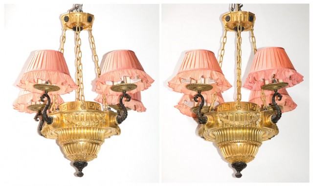 Pair of Louis XVI Style Gilt and Patinated-Bronze and Metal Twelve-Light Chandeliers with Pink Silk Pleated Shades by Denning & Fourcade, Inc.